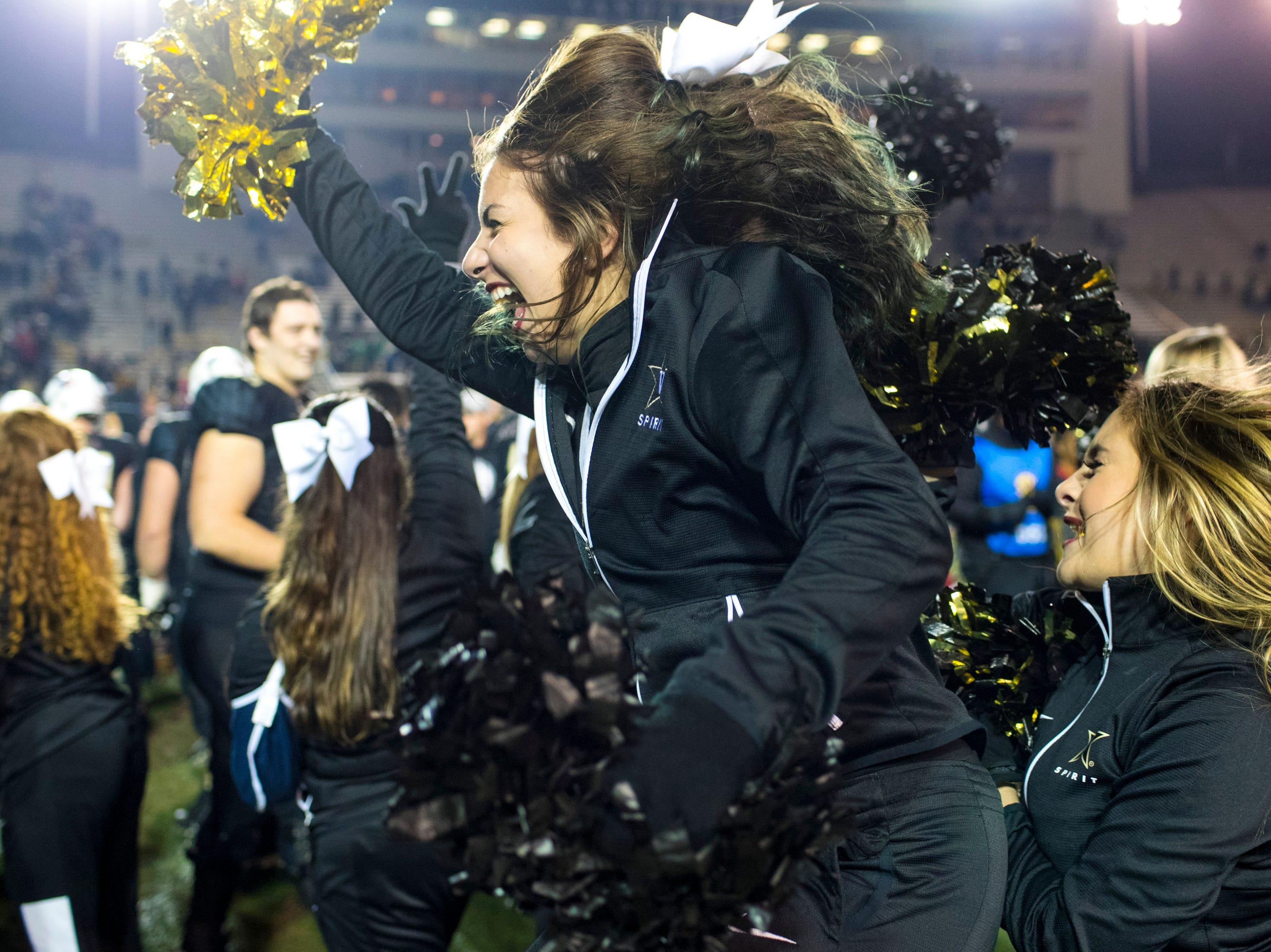 Vanderbilt's cheerleaders celebrate after Vanderbilt's game against Ole Miss at Vanderbilt Stadium in Nashville on Saturday, Nov. 17, 2018.