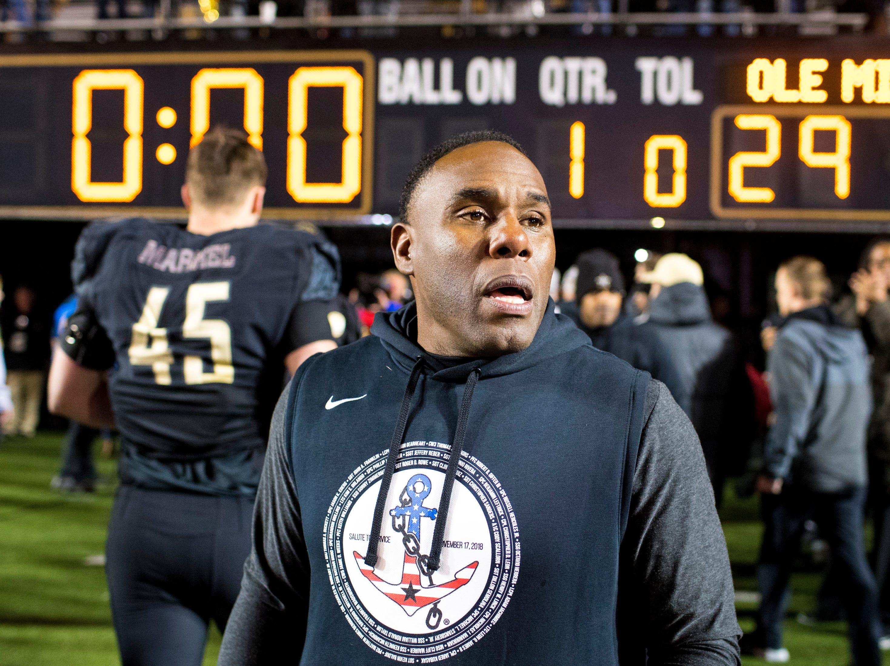 Vanderbilt head coach Derek Mason after Vanderbilt's game against Ole Miss at Vanderbilt Stadium in Nashville on Saturday, Nov. 17, 2018.
