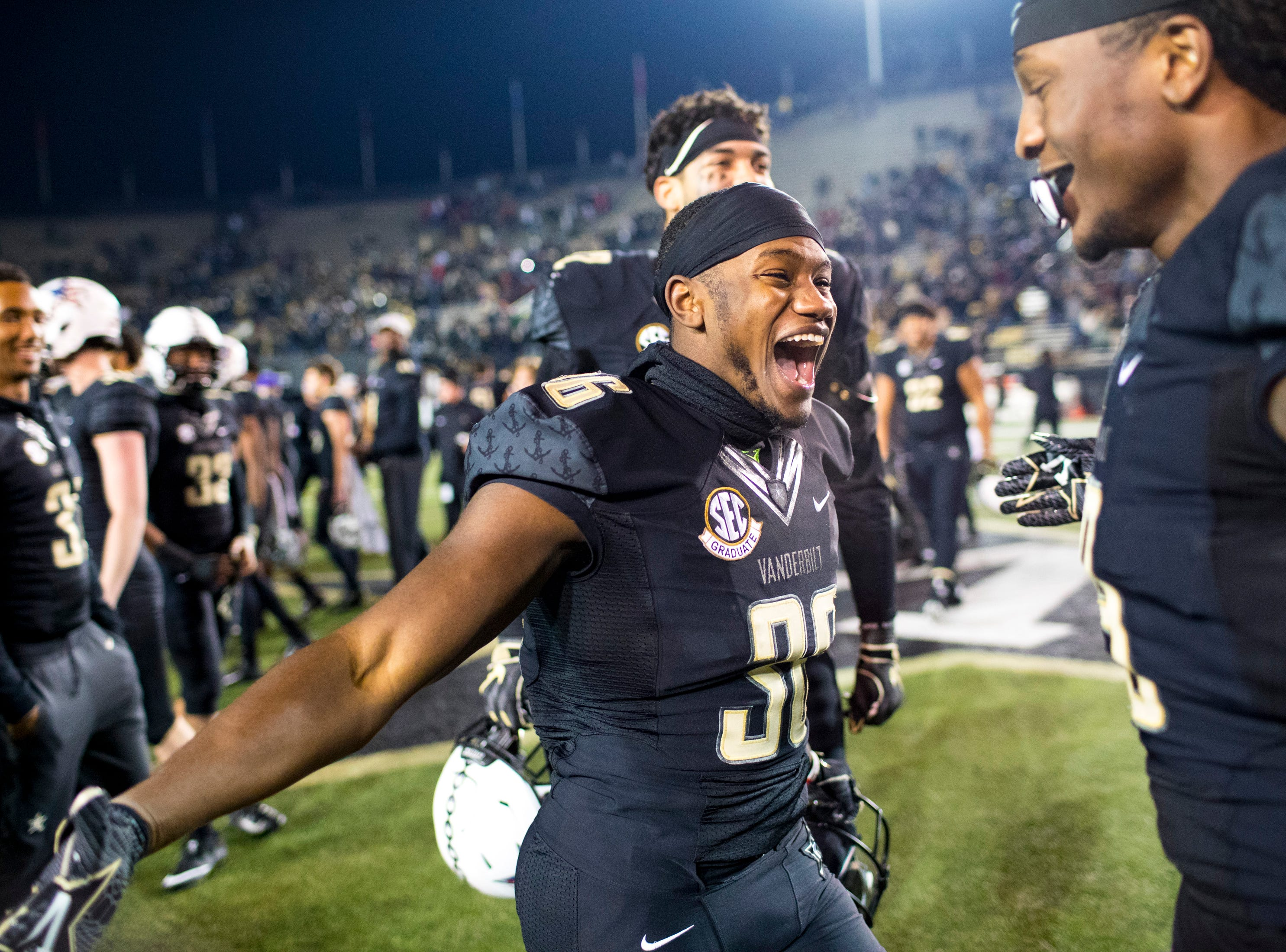 Vanderbilt wide receiver Trey Ellis (36) celebrates after Vanderbilt's game against Ole Miss at Vanderbilt Stadium in Nashville on Saturday, Nov. 17, 2018.
