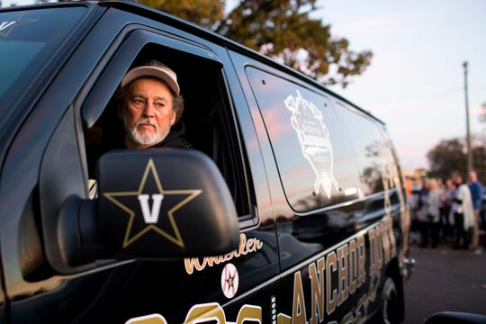 """Preacher"" Franklin parks his ""Vandy Van"" before Vanderbilt's game against Ole Miss, outside of Vanderbilt Stadium in Nashville on Saturday, Nov. 17, 2018."