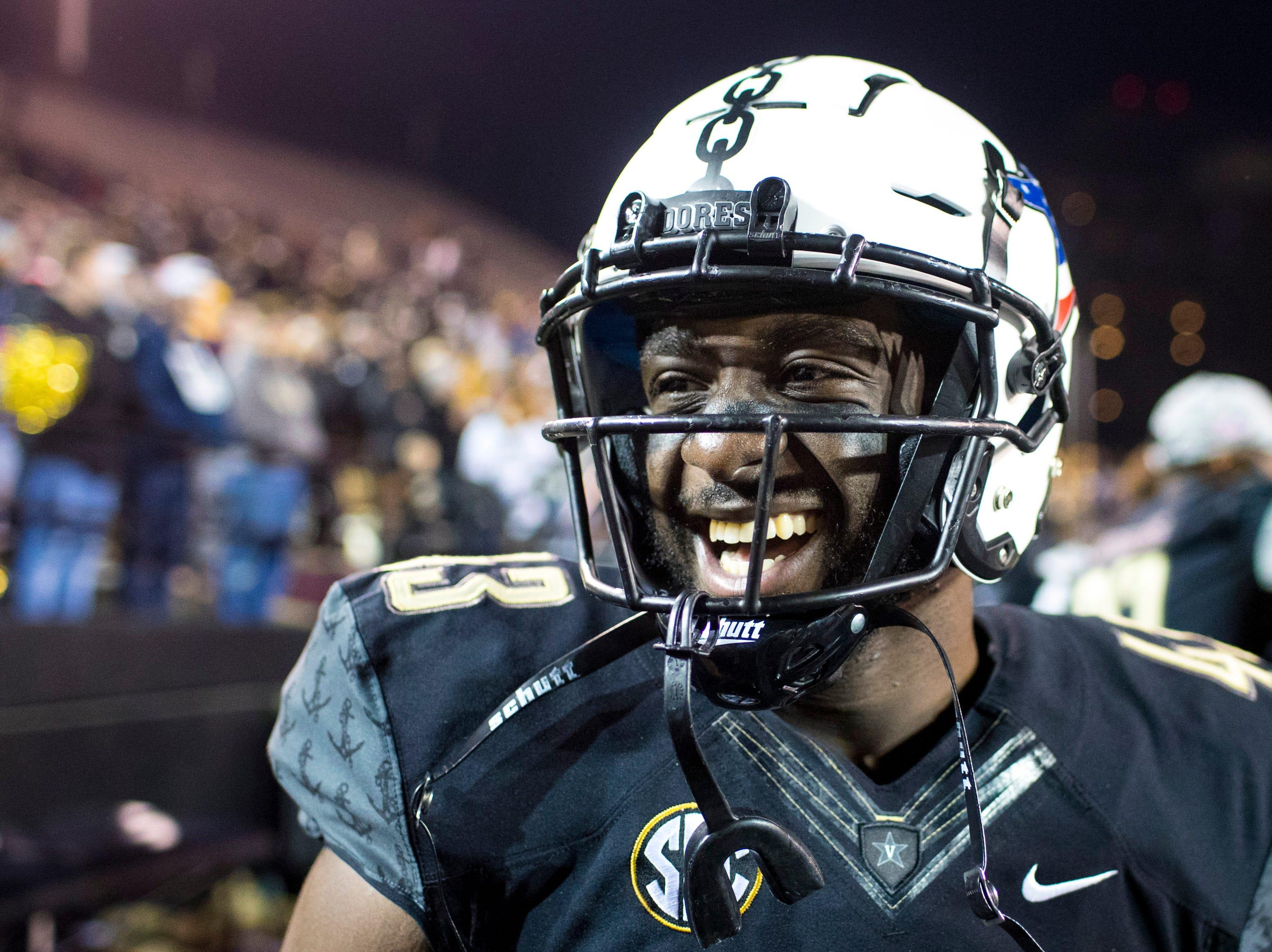 Vanderbilt fullback Josh Higgs (43) laughs during Vanderbilt's game against Ole Miss at Vanderbilt Stadium in Nashville on Saturday, Nov. 17, 2018.