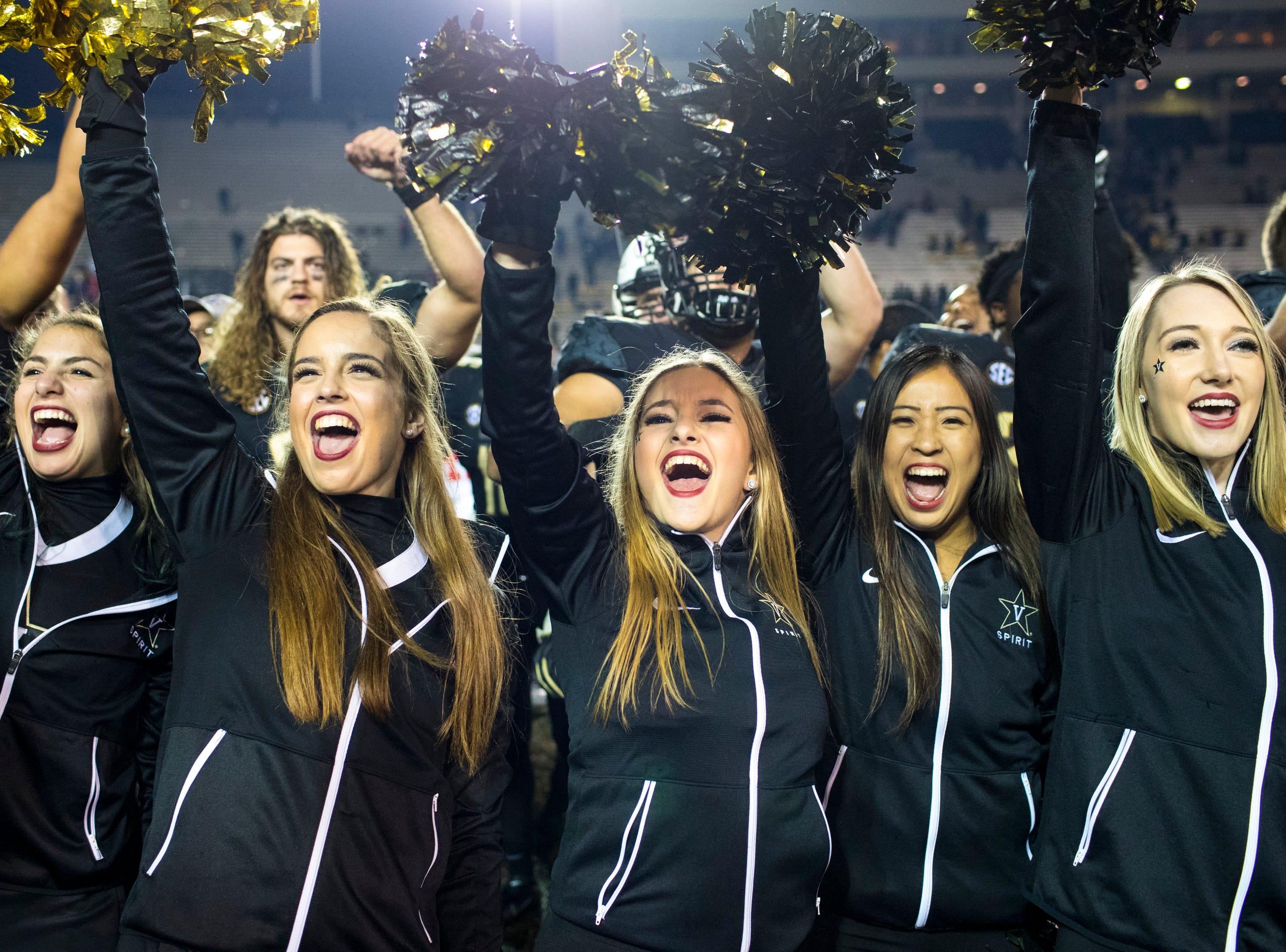 Vanderbilt's cheerleaders cheer after Vanderbilt's game against Ole Miss at Vanderbilt Stadium in Nashville on Saturday, Nov. 17, 2018.