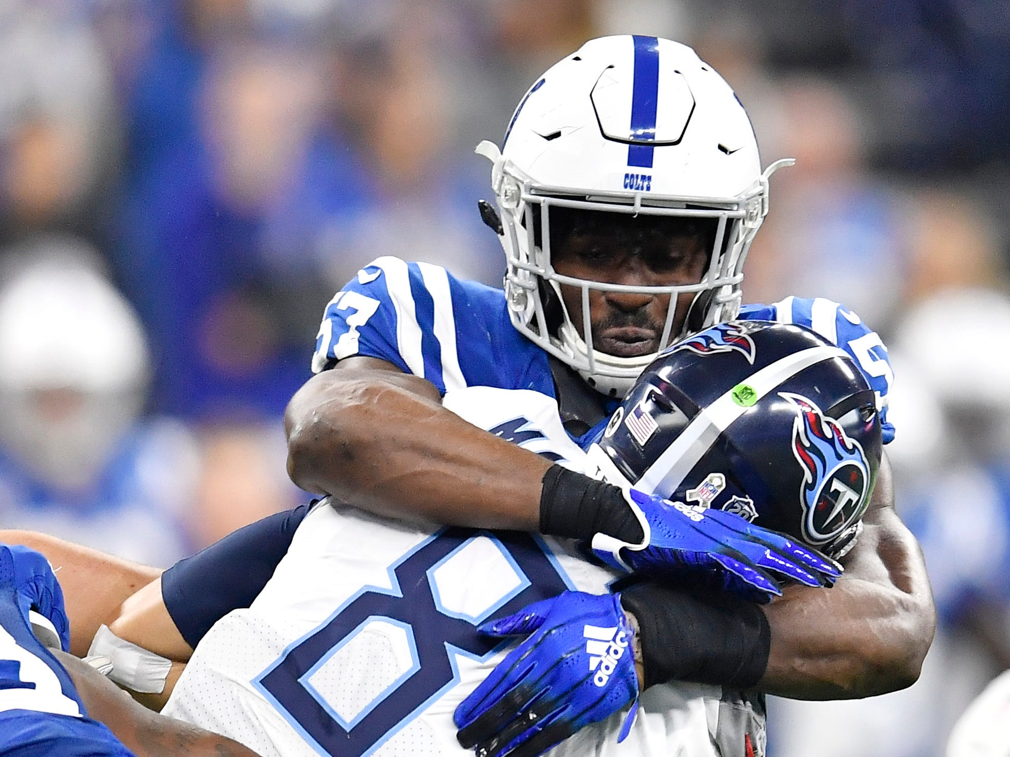 Nov. 18: Colts 38, Titans 10 -- Titans quarterback Marcus Mariota (8) is sacked by Colts outside linebacker Darius Leonard (53) in the second quarter at Lucas Oil Stadium Sunday, Nov. 18, 2018, in Indianapolis, Ind.
