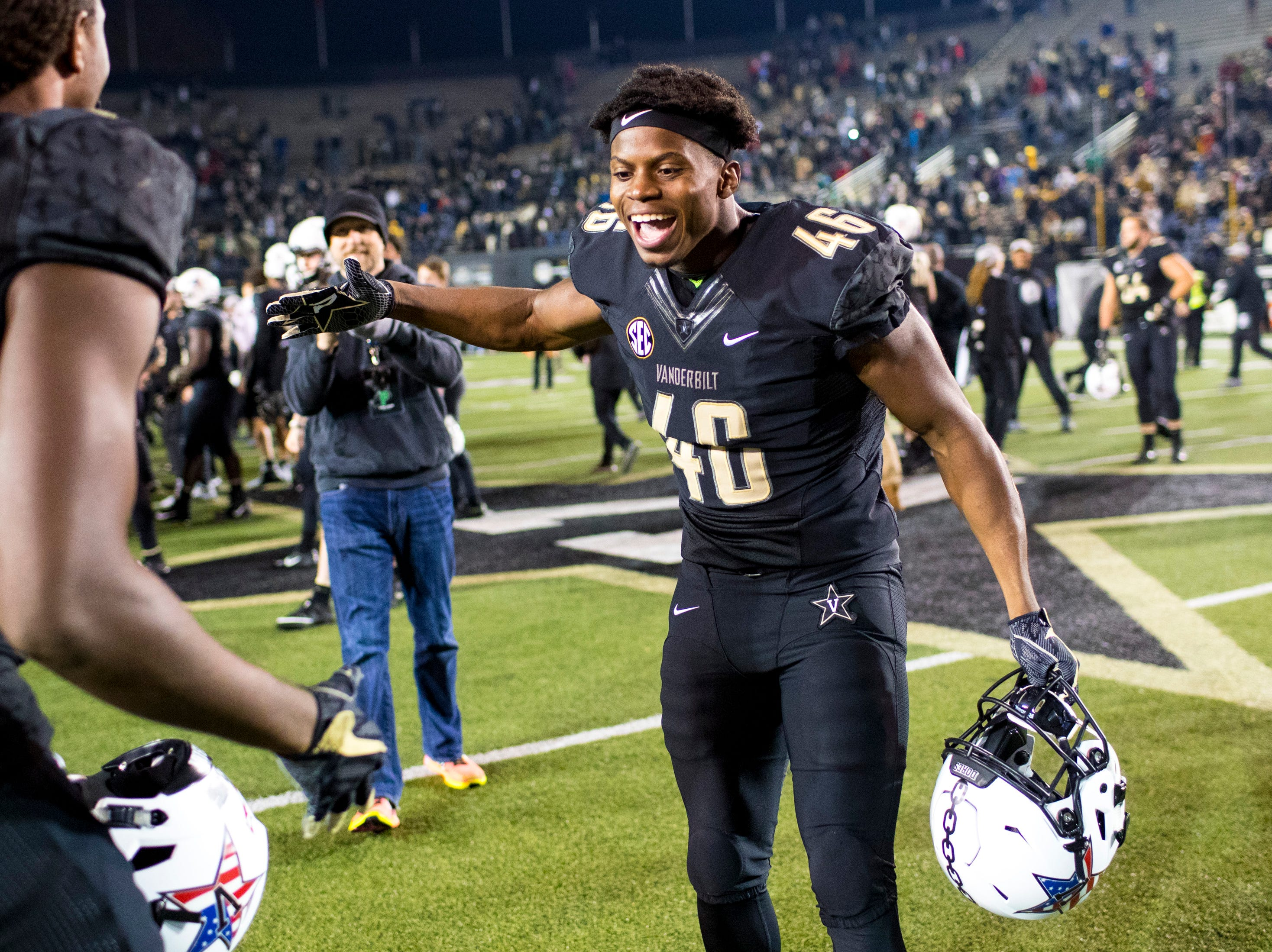 Vanderbilt wide receiver Keithian Starling (46) celebrates after Vanderbilt's game against Ole Miss at Vanderbilt Stadium in Nashville on Saturday, Nov. 17, 2018.