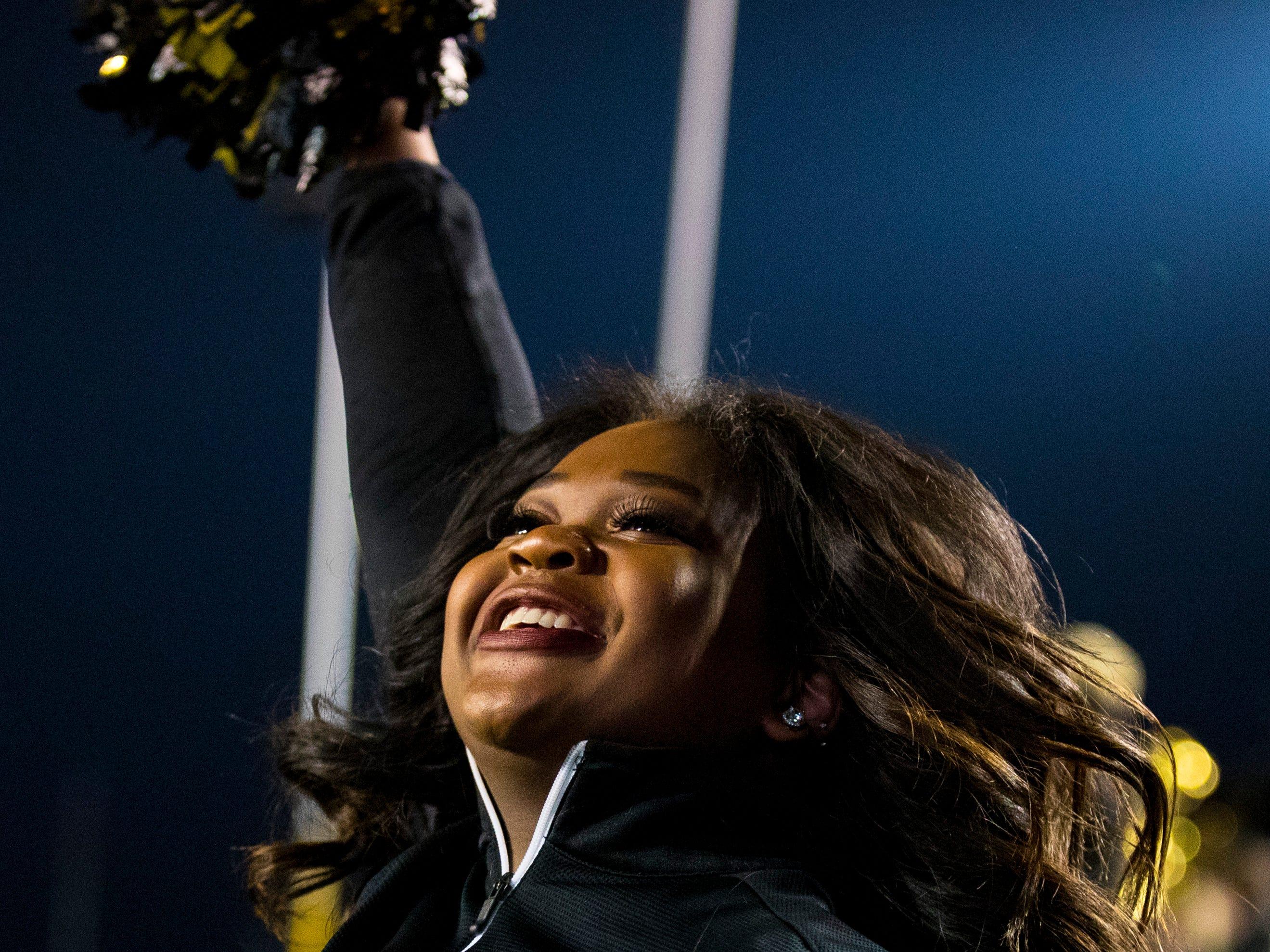 Vanderbilt cheerleader Jordan Williams cheers during Vanderbilt's game against Ole Miss at Vanderbilt Stadium in Nashville on Saturday, Nov. 17, 2018.