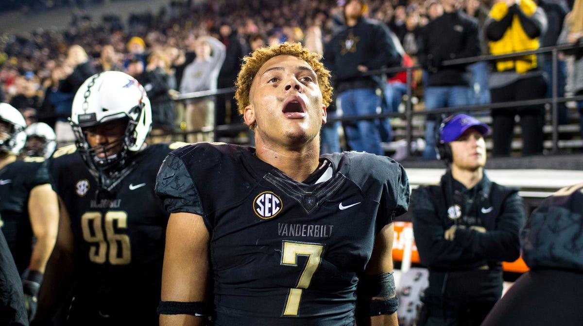 Vanderbilt linebacker Dimitri Moore, who opted back into...