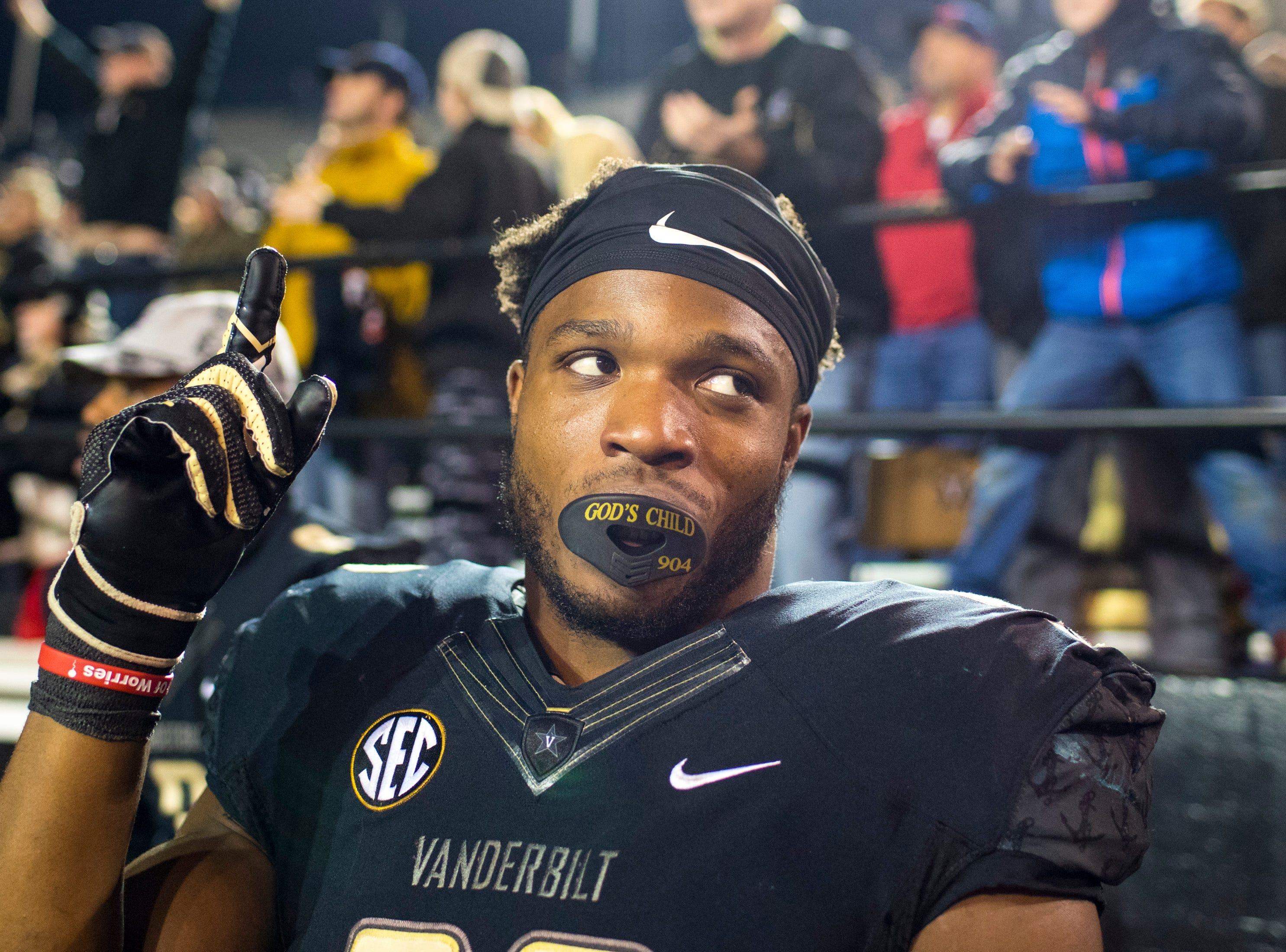 Vanderbilt running back Jamauri Wakefield (32) reacts to a call on the field during Vanderbilt's game against Ole Miss at Vanderbilt Stadium in Nashville on Saturday, Nov. 17, 2018.