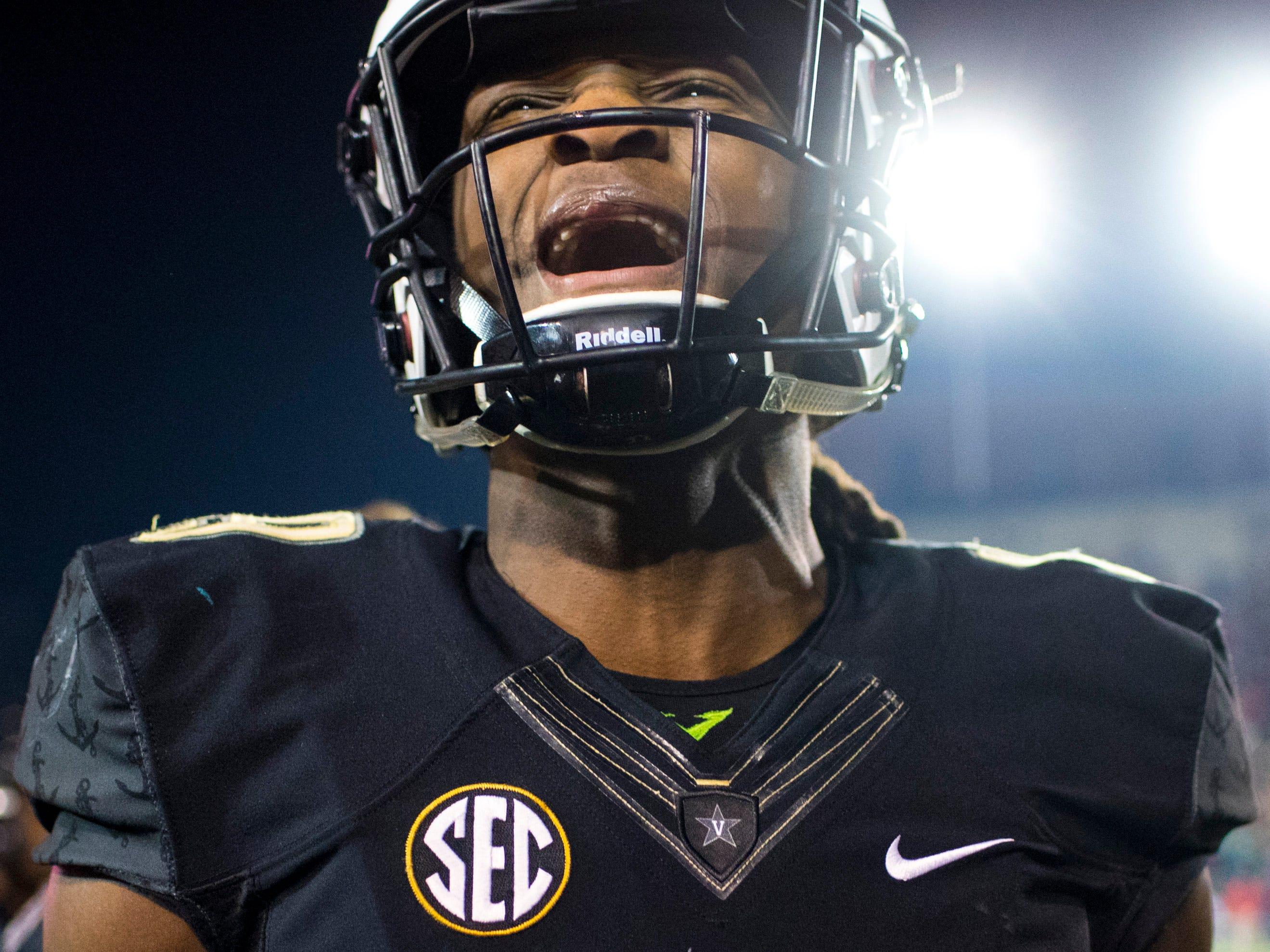 Vanderbilt wide receiver Chris Pierce (19) during Vanderbilt's game against Ole Miss at Vanderbilt Stadium in Nashville on Saturday, Nov. 17, 2018.