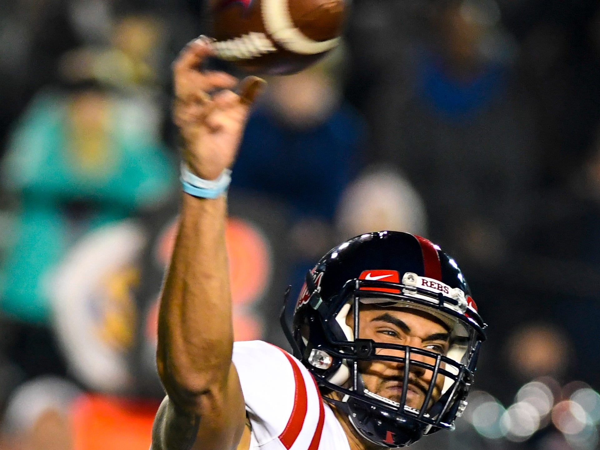 Ole Miss quarterback Jordan Ta'amu (10) passes during Vanderbilt's game against Ole Miss at Vanderbilt Stadium in Nashville on Saturday, Nov. 17, 2018.