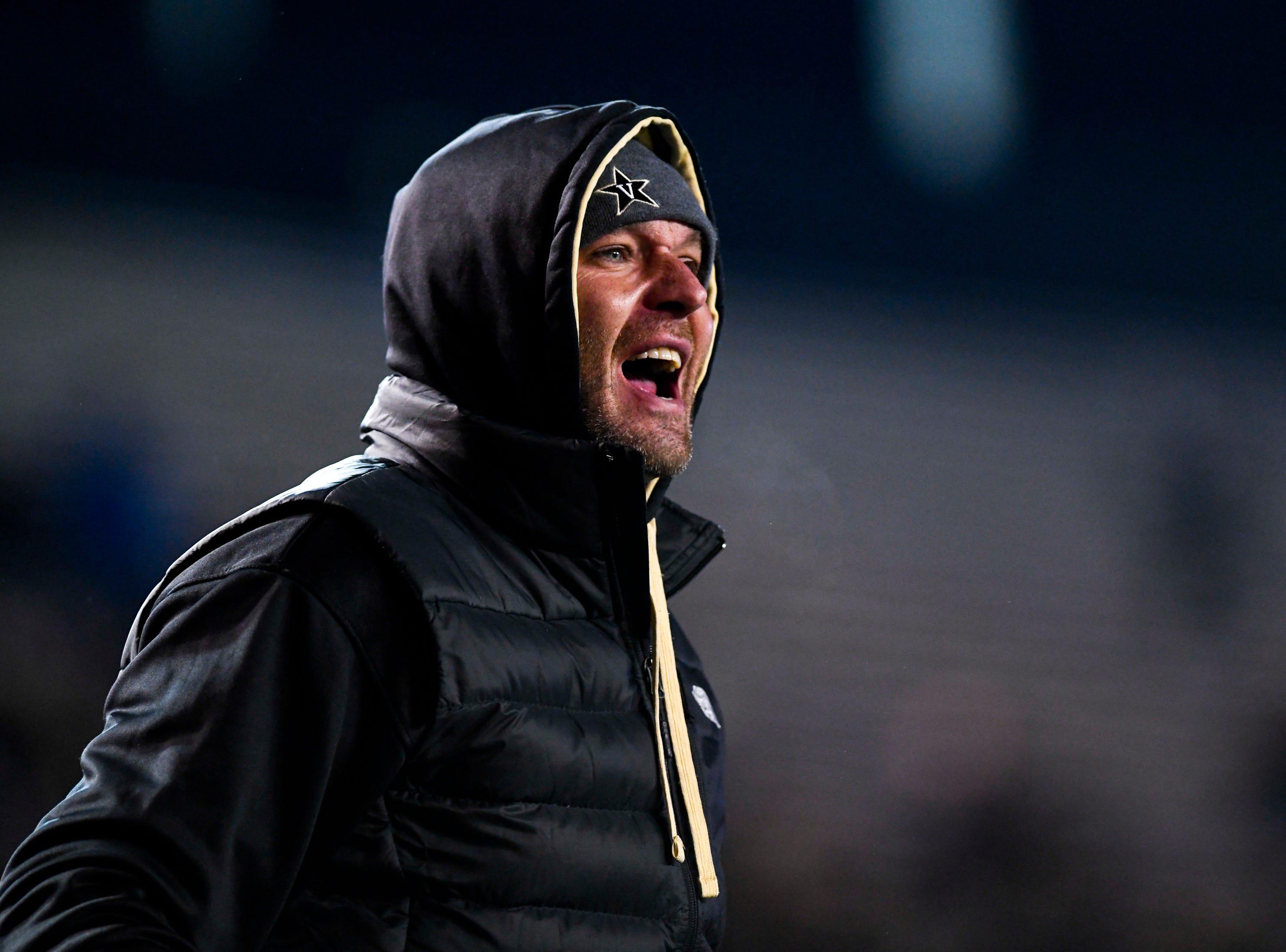 A Vanderbilt fan yells during Vanderbilt's game against Ole Miss at Vanderbilt Stadium in Nashville on Saturday, Nov. 17, 2018.