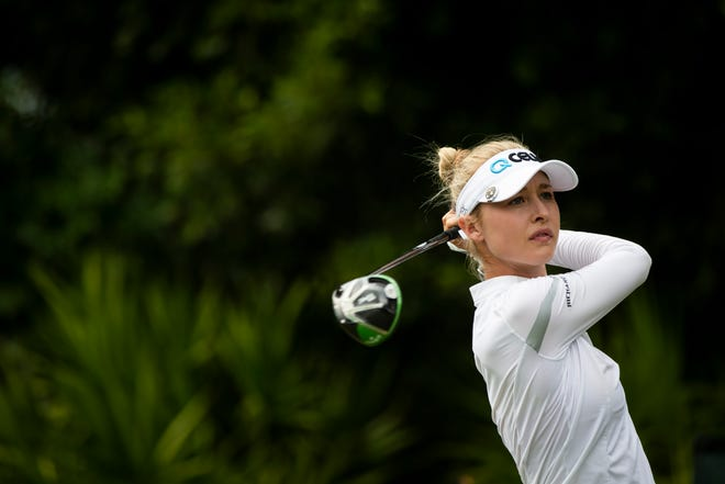 Nelly Korda watches her ball during the final day of the CME Group Tour Championship, the final event of the LPGA Tour, on Sunday at Tiburón Golf Club in Naples.