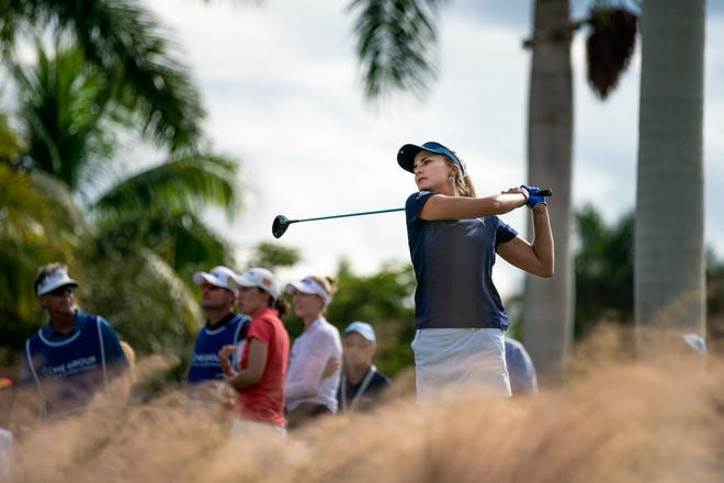 Lexi Thompson hit a shot during the final round of LPGA season-ending CME Championship at Tiburón Golf Club at the Ritz-Carlton Golf Resort in Naples on Sunday. Thompson shot 18 under to win.
