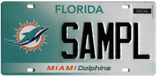 The Miami Dolphins are the most popular pro sports team among specialty license plate holders in Collier County.