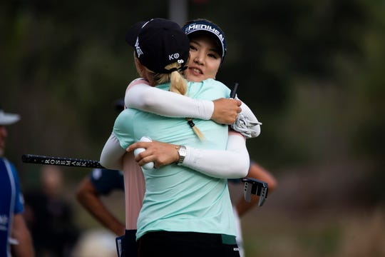 So Yeon Ryu hugs Lydia Ko after finishing the CME Group Tour Championship, the final event of the LPGA Tour, on Sunday at Tiburón Golf Club in Naples.