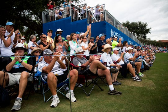 Spectators clap as players approach the 18th hole during the final day of the CME Group Tour Championship, the final event of the LPGA Tour, on Sunday, November 18, 2018, at Tiburón Golf Club in Naples.