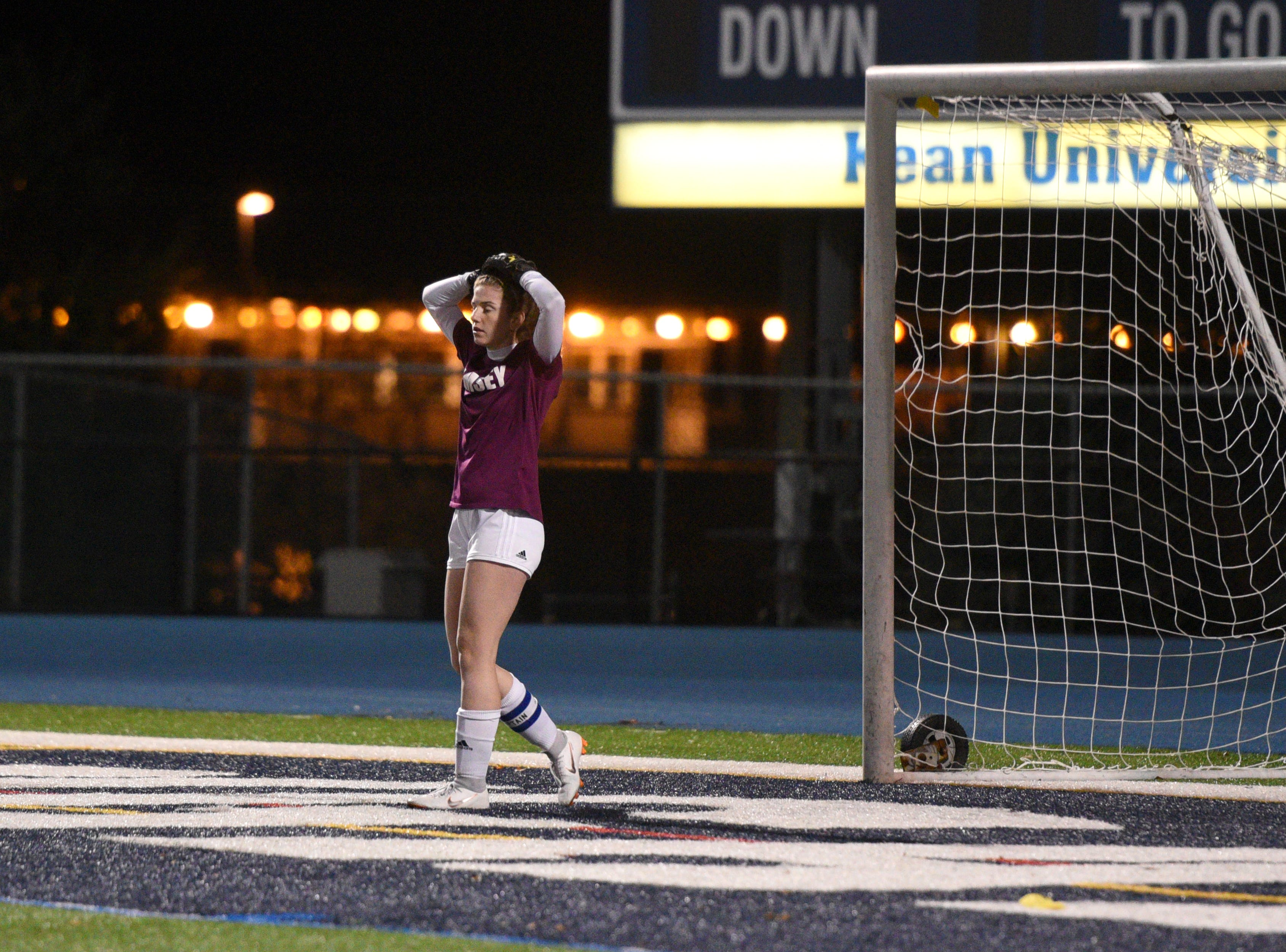 Ramsey goalie Katie Sylvester reacts after Governor Livingston scores the game-winning goal in the Group II final on Sunday, Nov. 18, 2018 at Kean University.