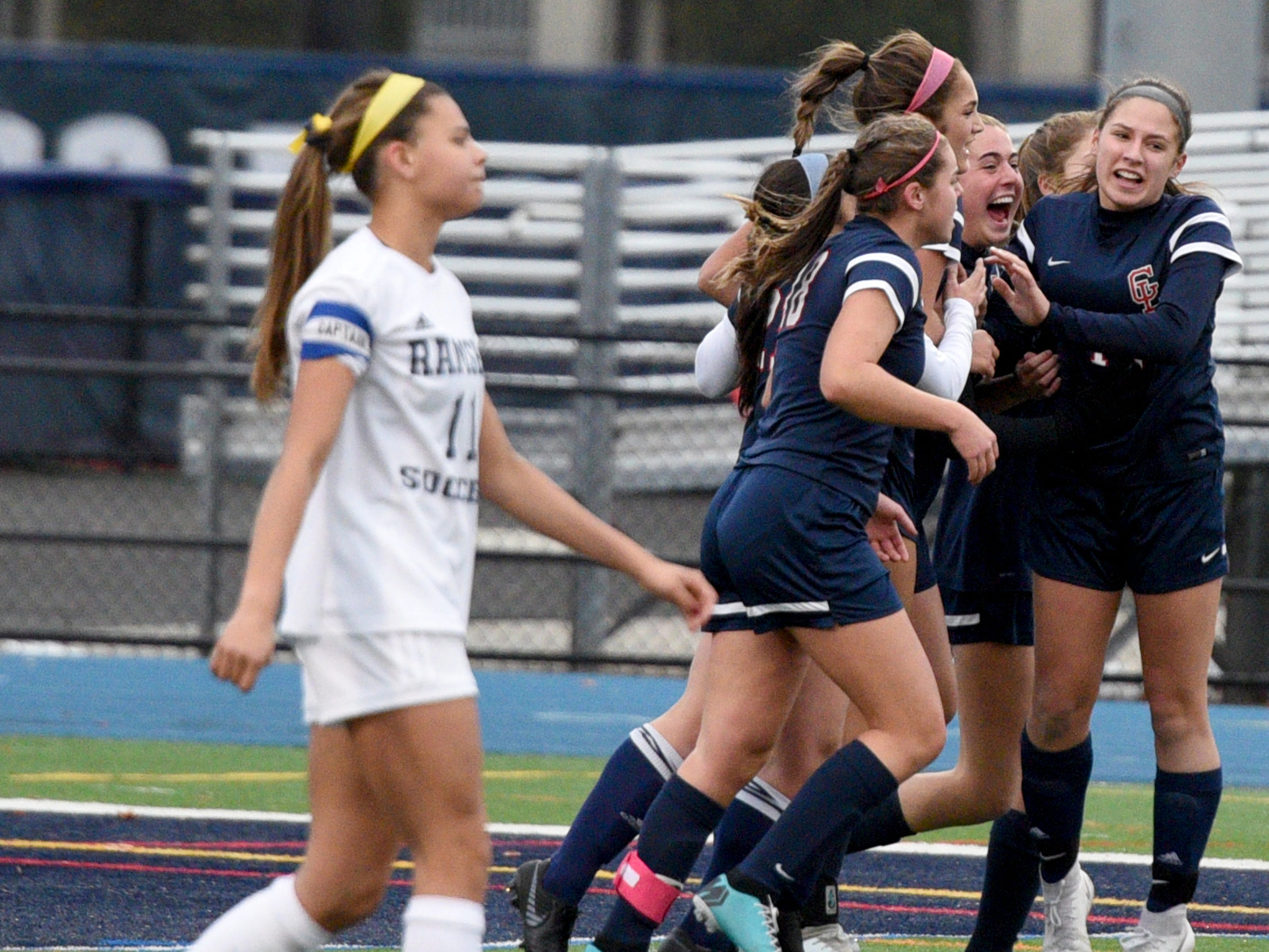 Governor Livingston celebrates a goal during the first half against Ramsey in the Group II final on Sunday, Nov. 18, 2018 at Kean University.