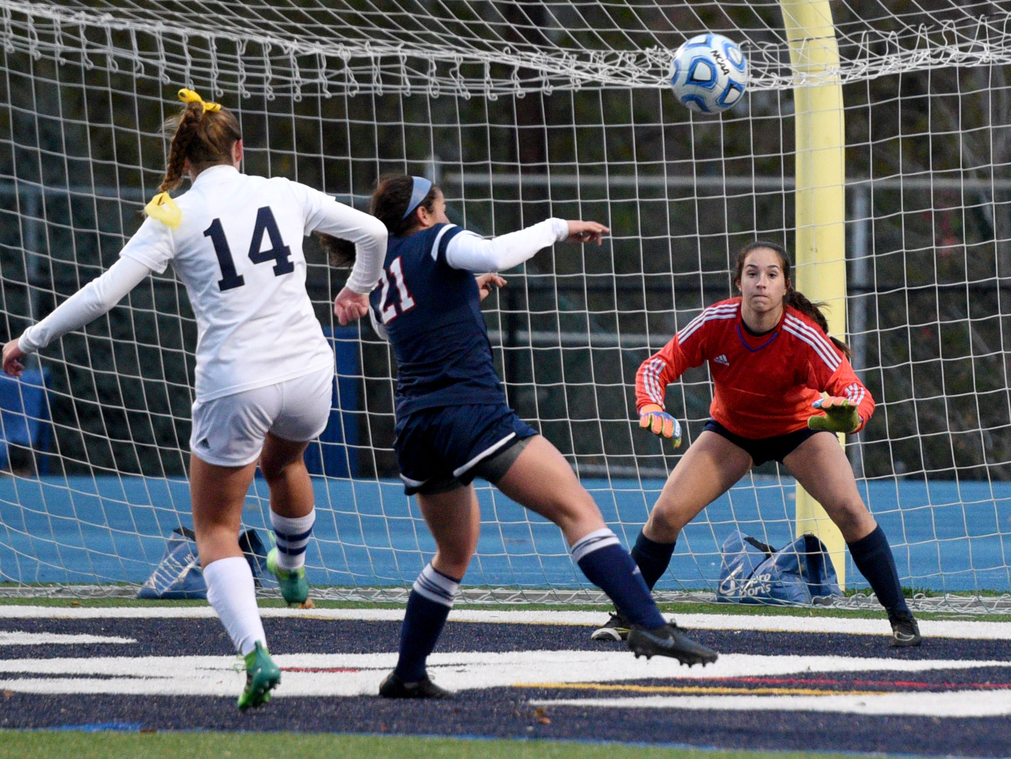 Governor Livingston goalie Sarah Foy waits to make a save against Ramsey during the Group II final on Sunday, Nov. 18, 2018 at Kean University.