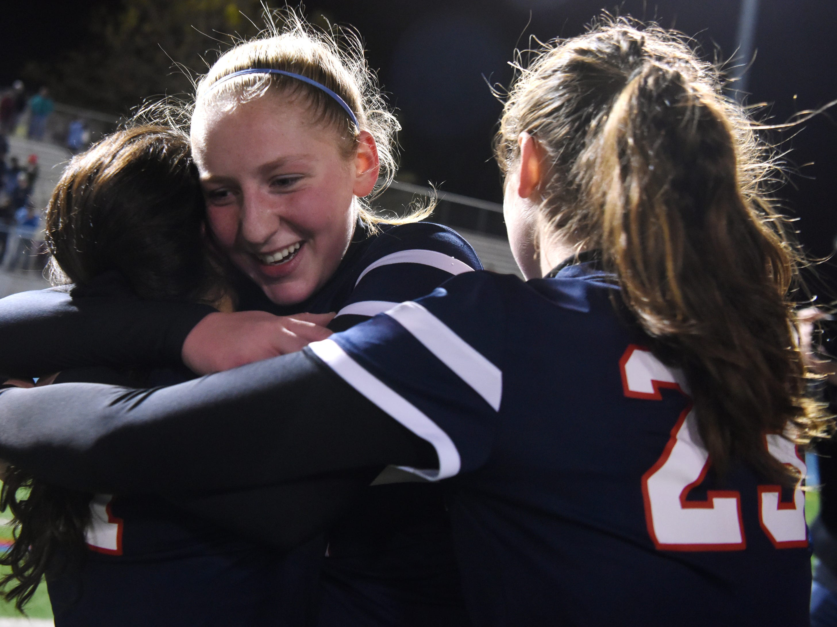 Governor Livingston players celebrate after their victory over Ramsey in the Group II final on Sunday, Nov. 18, 2018 at Kean University.