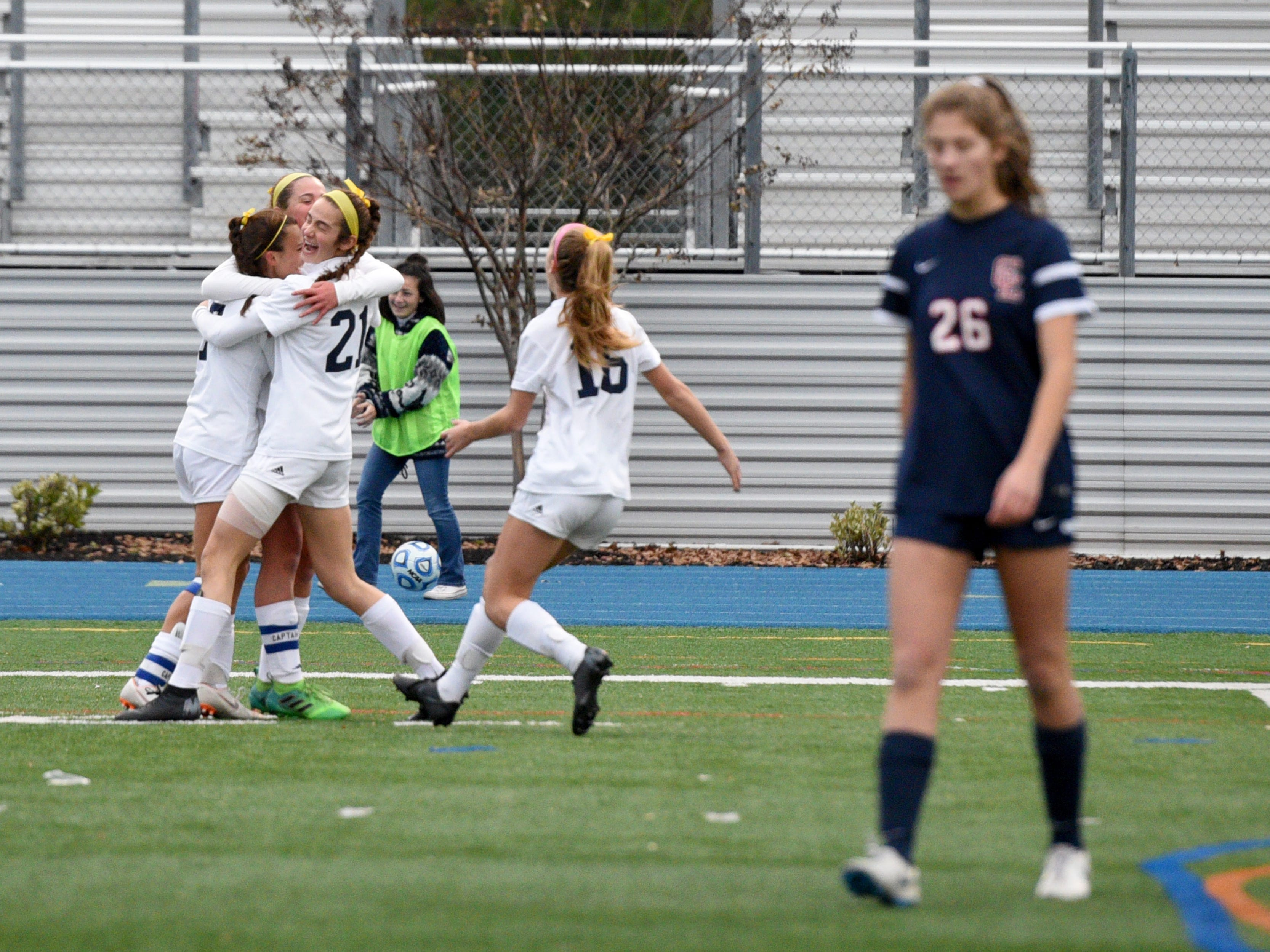 Ramsey celebrates a goal during the first half against Governor Livingston in the Group II final on Sunday, Nov. 18, 2018 at Kean University.