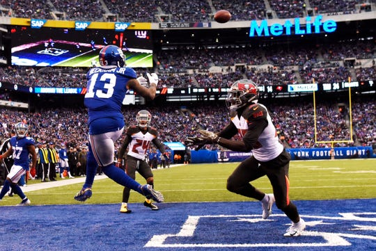 New York Giants wide receiver Odell Beckham Jr. (13) makes a touchdown catch in the second half. The New York Giants defeat the Tampa Bay Buccaneers 38-35 on Sunday, Nov. 18, 2018 in East Rutherford.
