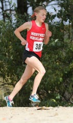 Daisy Liljegren, of Northern Highlands, finished fourth individually in the girls race at the State Cross-County Meet of Champions on Nov. 17, 2018, running an amazing 33 second personal best of 18:19 at the state course of record, Holmdel Park.