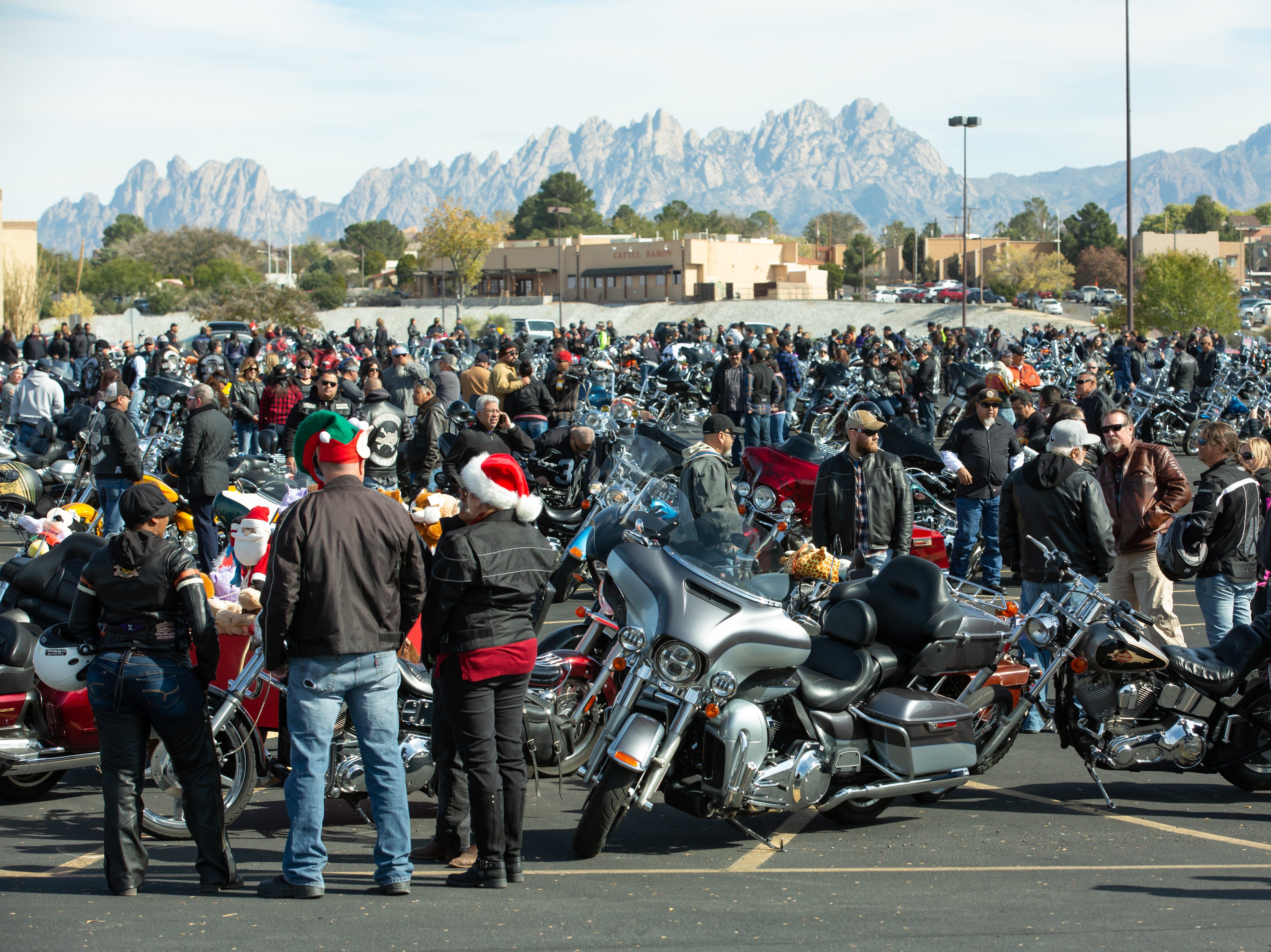 Bikers gather in the Mesilla Valley Mall parking lot on Sunday Nov. 18, 2018, during the 38th annual Toys for Kids Motorcycle Parade to benefit children in southern New Mexico.