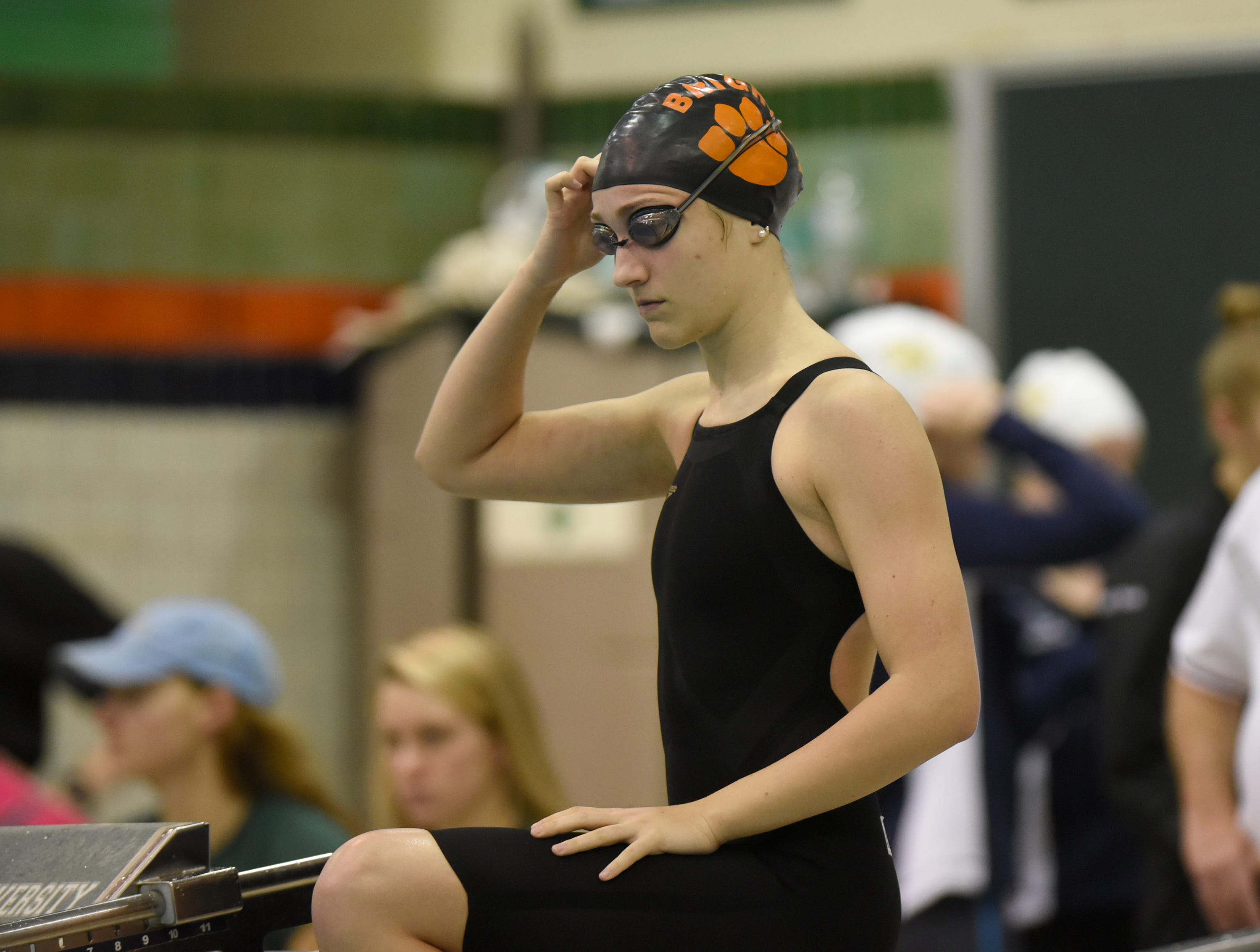 Chole Reed from Brighton gets ready for the 500 freestyle at the Division 1 girls swimming and diving championships held at Eastern Michigan University Nov. 17, 2018.