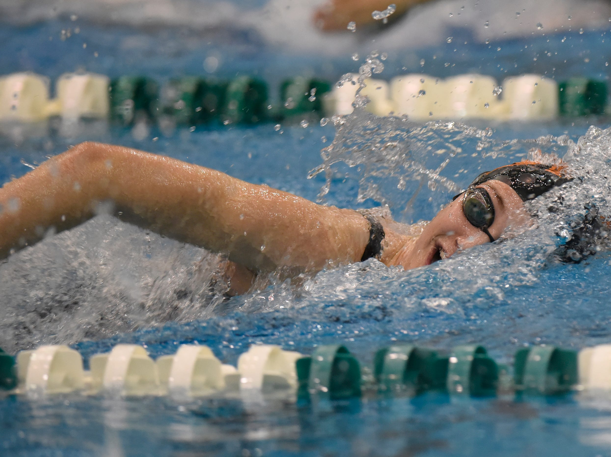 Brighton's Chole Reed in the 500 freestyle at the Division 1 girls swimming and diving championships held at Eastern Michigan University Nov. 17, 2018.
