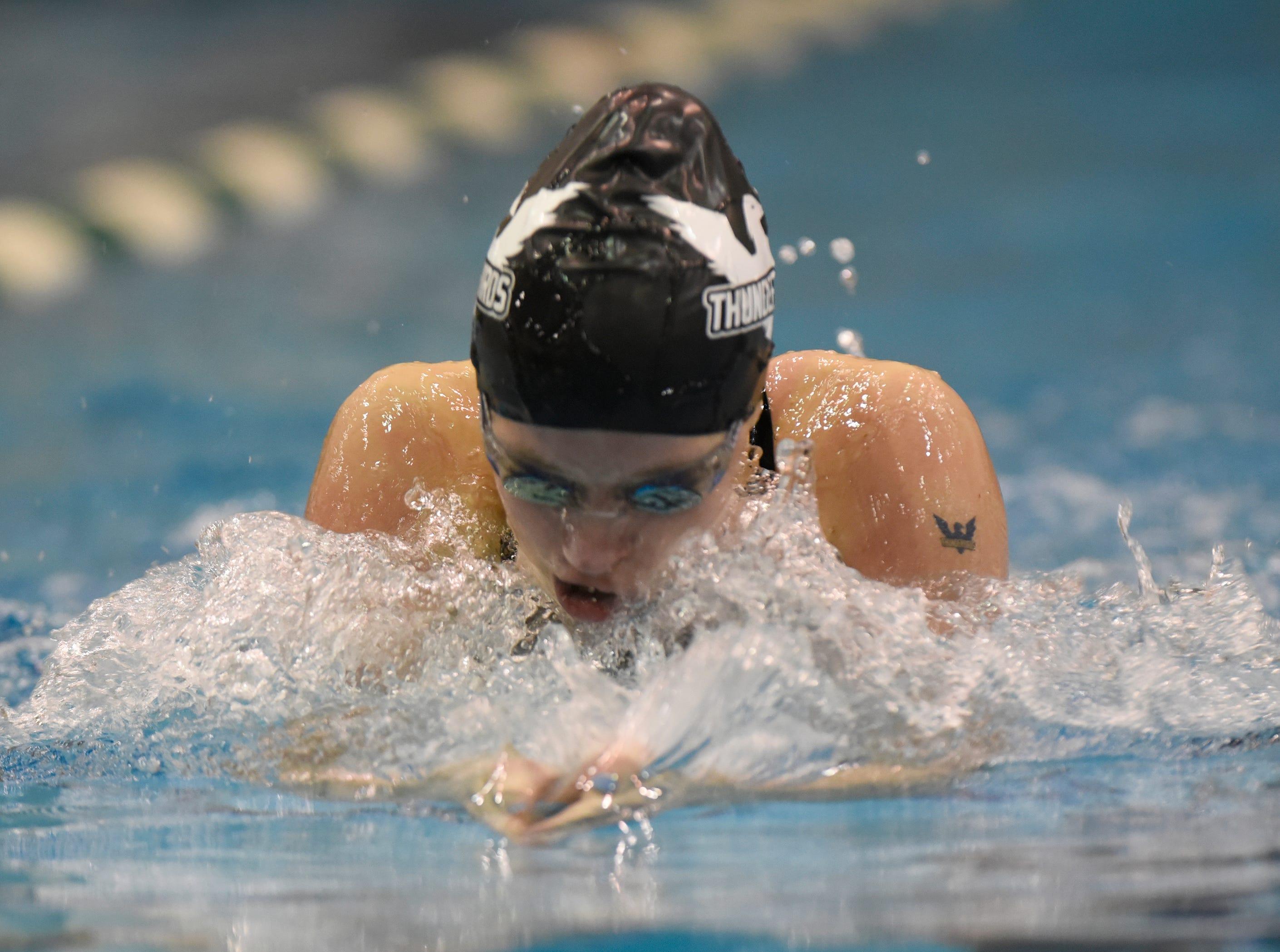 Harrison/Farmington's Dayna Borregar in the 100 yard breaststroke at the Division 1 girls swimming and diving championships held at Eastern Michigan University Nov. 17, 2018.