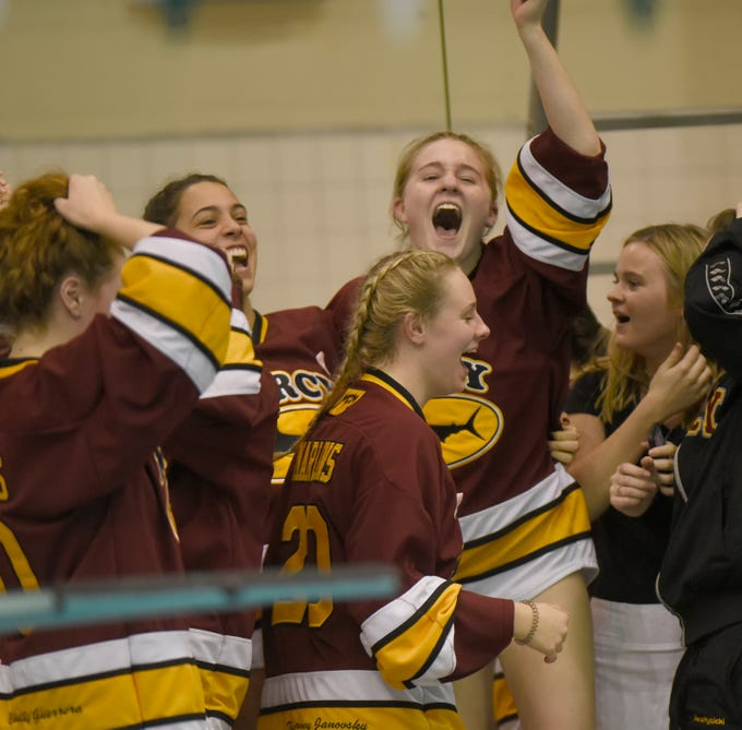 Mercy swimmers celebrate as teammates take third place in the 400 yard freestyle - giving them enough points to win the team championship at the Division 1 girls swimming and diving championships held at Eastern Michigan University Nov. 17, 2018.