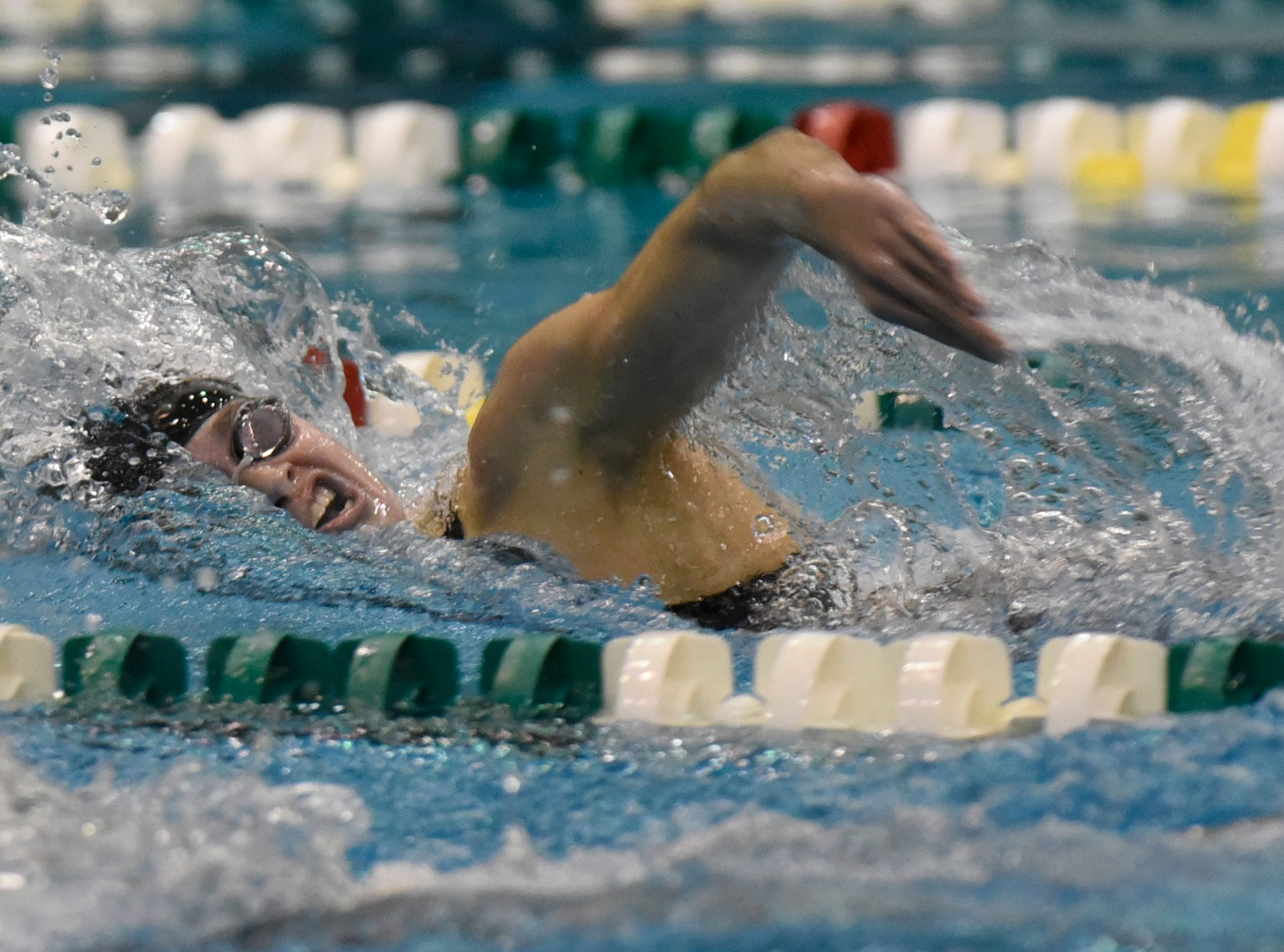 Harrison/Farmington's Emma Inch in the 500 freestyle at the Division 1 girls swimming and diving championships held at Eastern Michigan University Nov. 17, 2018.