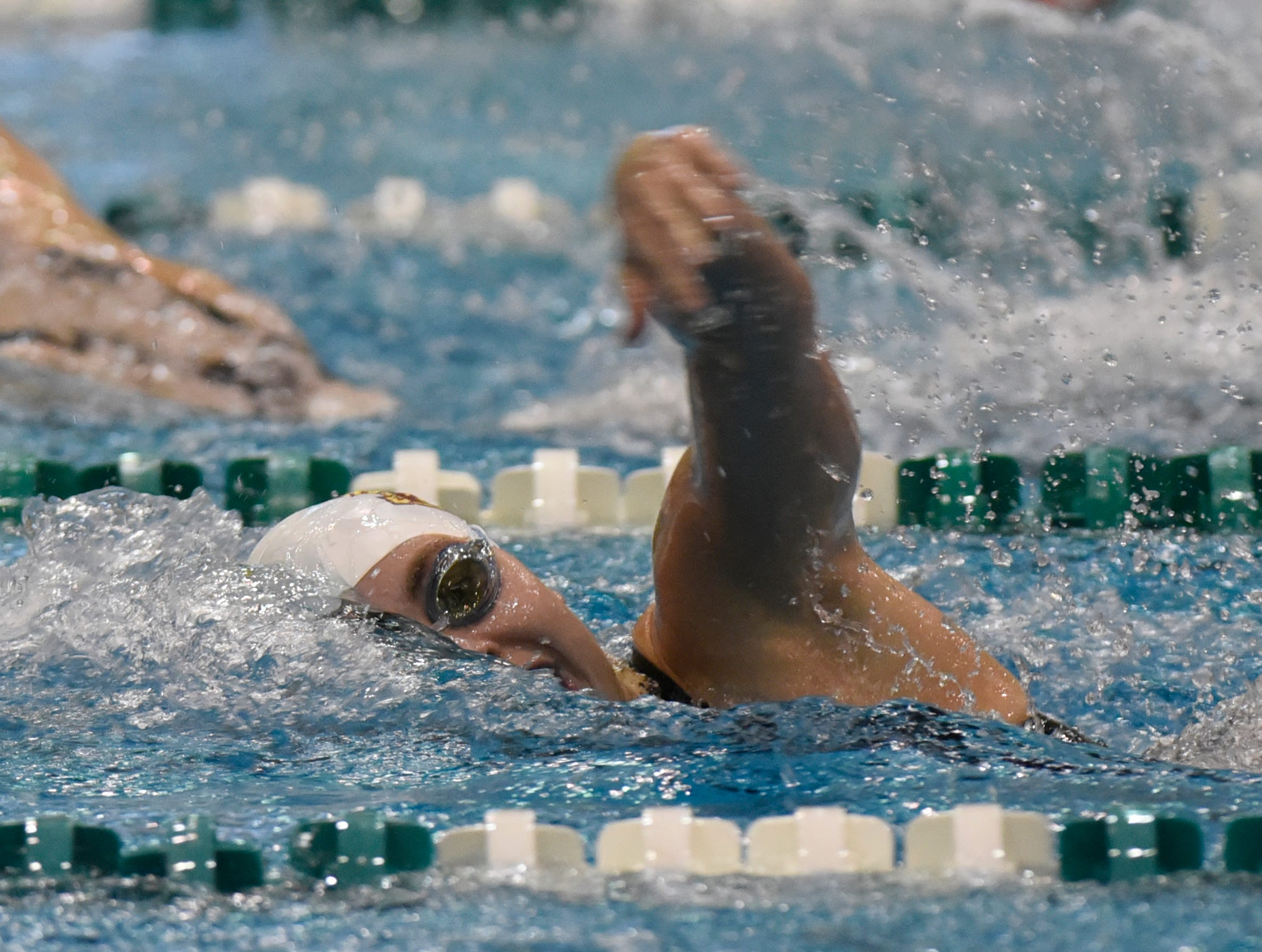 Mercy's Annette Dombkowski in the 500 free at the Division 1 girls swimming and diving championships held at Eastern Michigan University  Nov. 17, 2018.