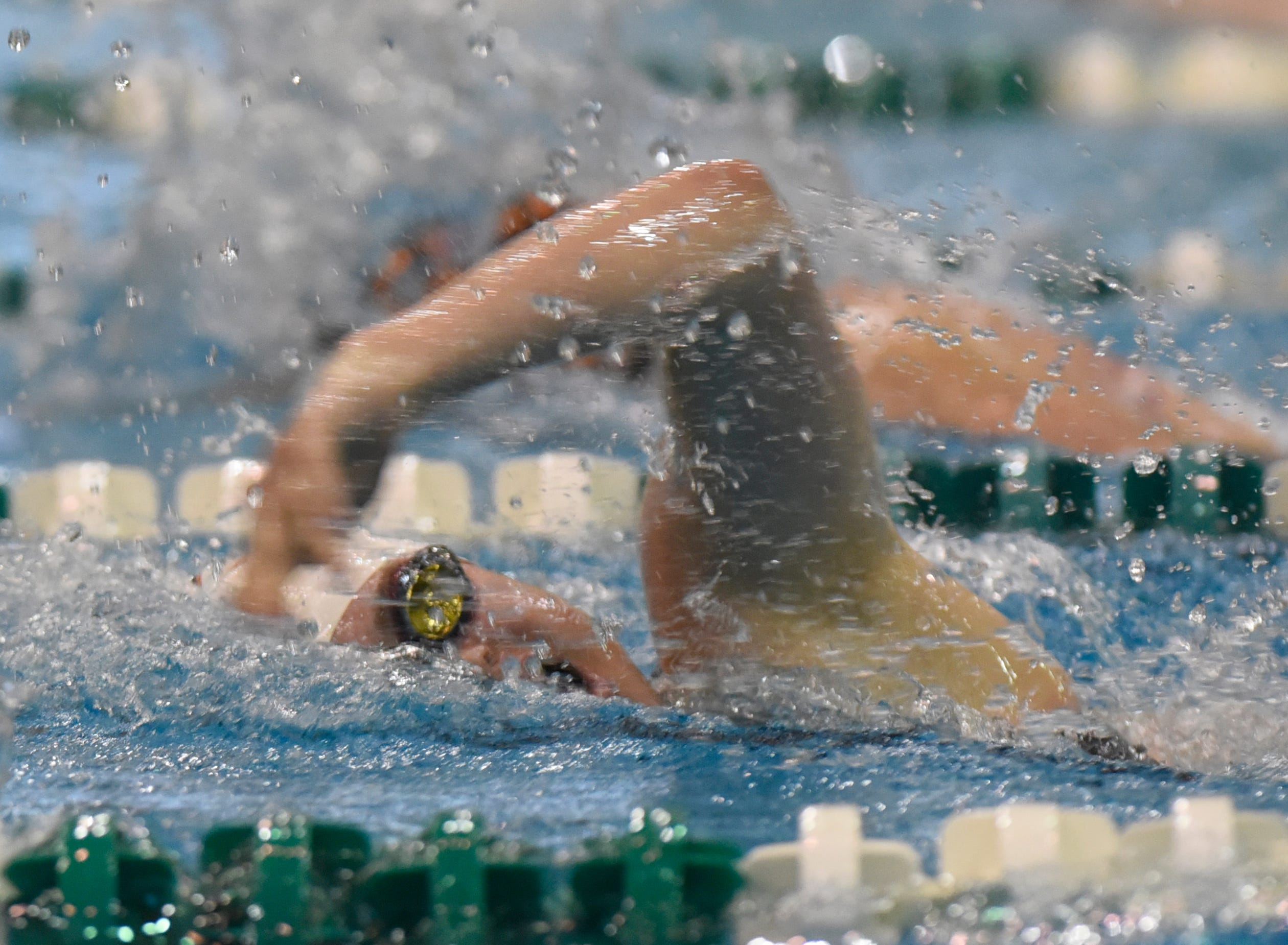 Canton's Sophia Balow in the 500 freestyle at the Division 1 girls swimming and diving championships held at Eastern Michigan University Nov. 17, 2018.