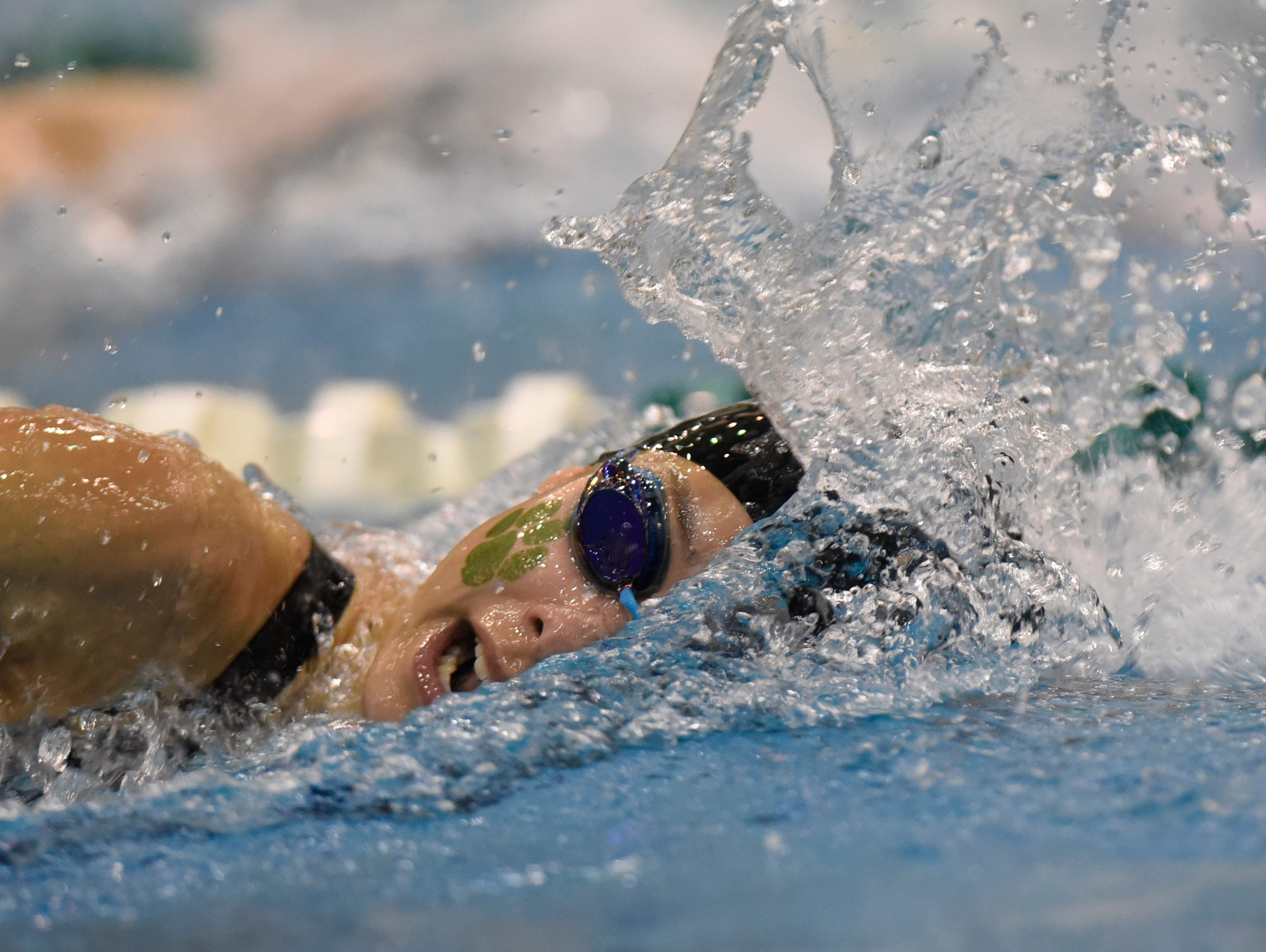 Novi swimmer in the 200 yard freestyle relay at the Division 1 girls swimming and diving championships held at Eastern Michigan University Nov. 17, 2018.