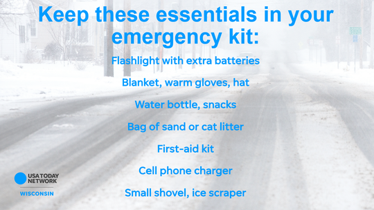 Keep these items in your car in case you're stranded during bad winter weather.