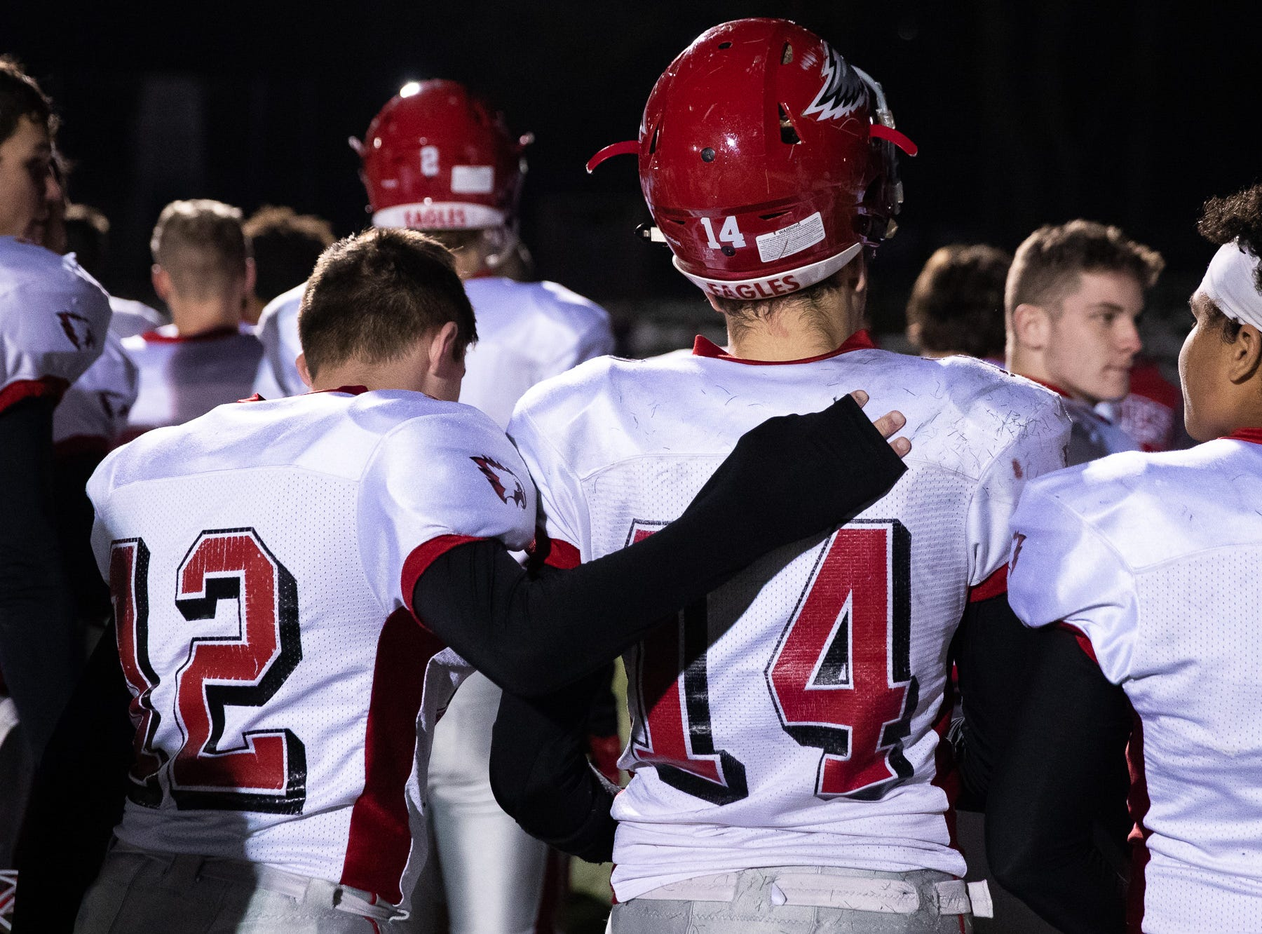 Members of the Bermudian Springs Eagles walk off the field after losing the District 3 Class 3A championship game against Middletown, Saturday, Nov. 17, 2018, at Cedar Crest High School. The Middletown Raiders defeated the Bermudian Springs Eagles 41-20 to win the title.