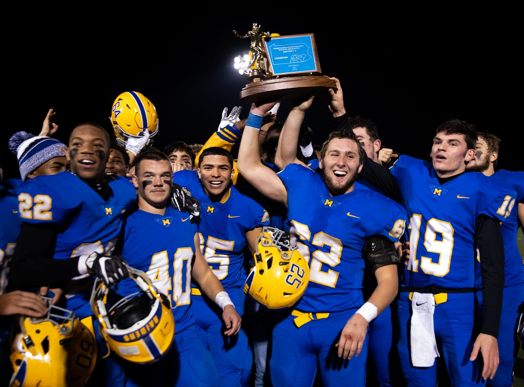 The Middletown Raiders celebrate after the District 3 Class 3A championship game against Bermudian Springs, Saturday, Nov. 17, 2018, at Cedar Crest High School. The Middletown Raiders defeated the Bermudian Springs Eagles 41-20 to win the title.