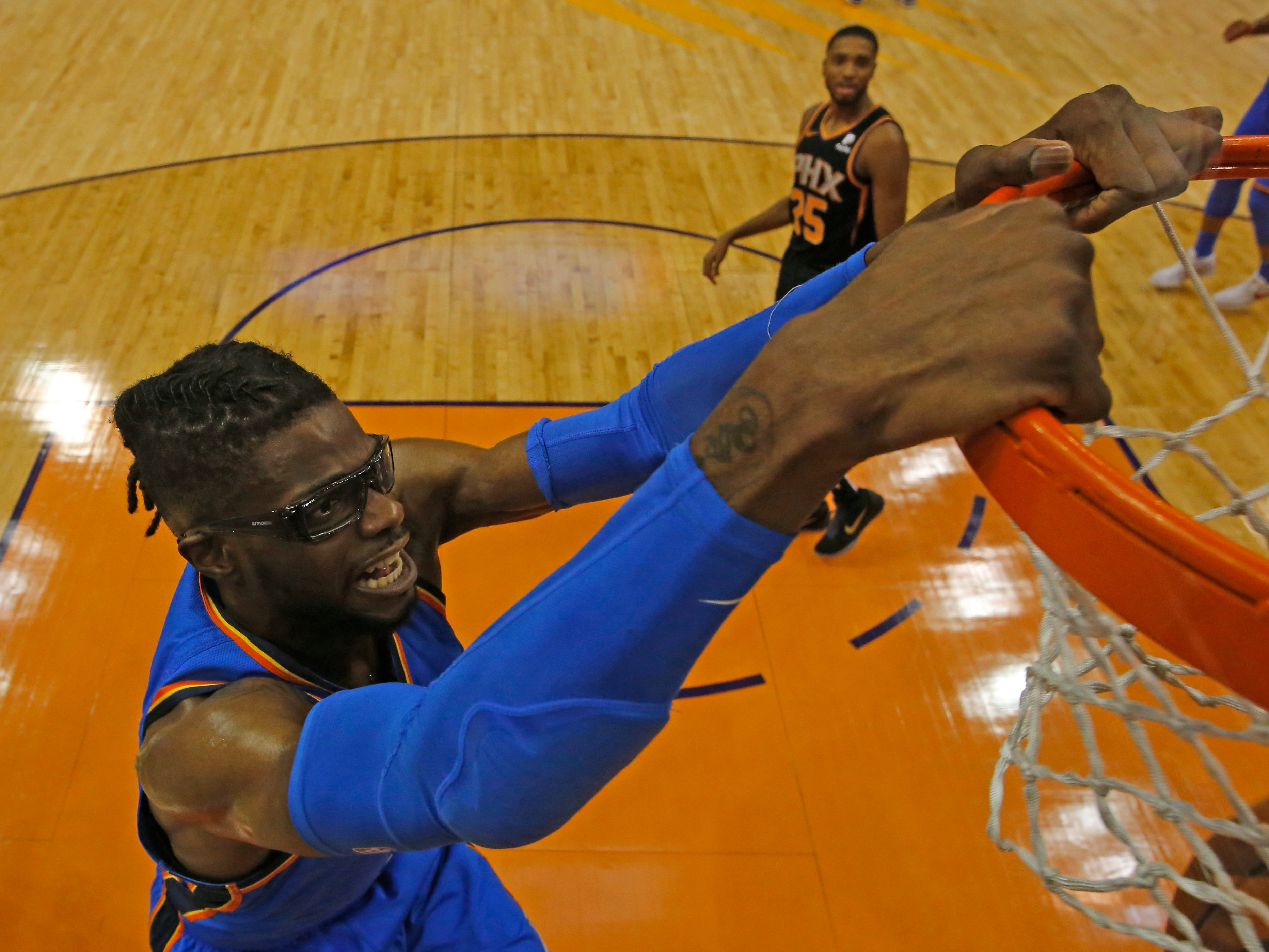Oklahoma City Thunder forward Nerlens Noel (3) in the first half during an NBA basketball game against the Phoenix Suns, Saturday, Nov. 17, 2018, in Phoenix. (AP Photo/Rick Scuteri)