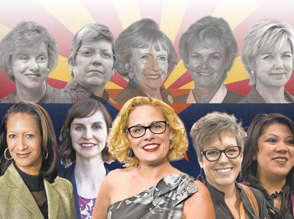 "Top row, from left, 1998's ""Fab Five"": Betsey Bayless, Janet Napolitano, Jane D. Hull, Carol Springer and Lisa Graham Keegan. Bottom row from left, winners in 2018: Sandra Kennedy, Kathy Hoffman, Kyrsten Sinema, Katie Hobbs and Kimberly Yee."