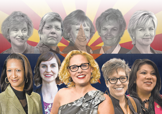 "Top row, from left, 1998's ""Fab Five"": Betsey Bayless, Janet Napolitano, Jane D. Hull, Carol Springer and Lisa Graham Keegan. Bottom row from left, winners in 2018: Sandra Kennedy, Kathy Hoffman, Kyrsten Sinema, Katie Hobbs and Kimberly Yee."