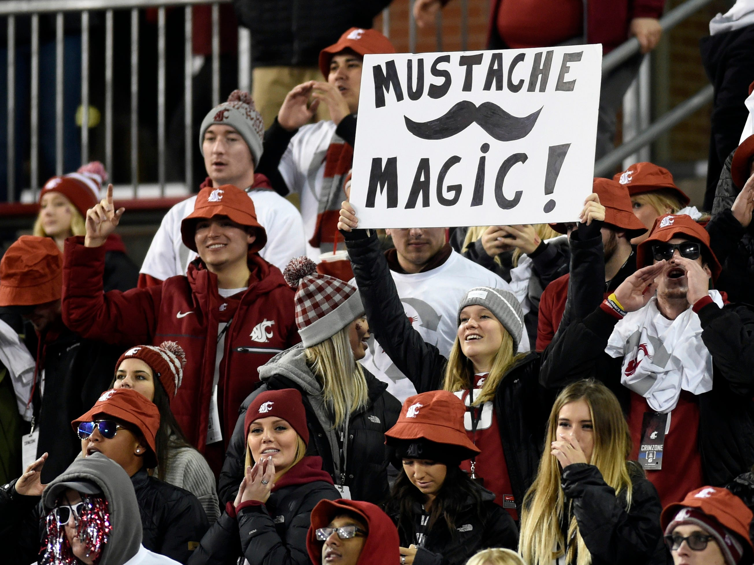 Nov 17, 2018; Pullman, WA, USA; Washington State Cougars students holds up a sign during a football game against the Arizona Wildcats in the first half at Martin Stadium. Mandatory Credit: James Snook-USA TODAY Sports