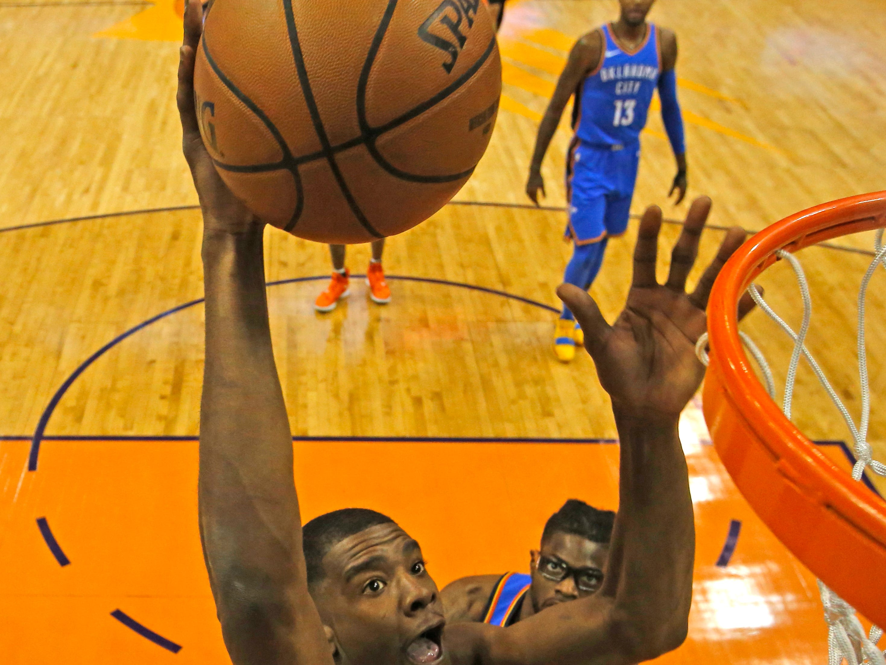 Phoenix Suns forward Josh Jackson (20) in the first half during an NBA basketball game against the Oklahoma City Thunder, Saturday, Nov. 17, 2018, in Phoenix. (AP Photo/Rick Scuteri)