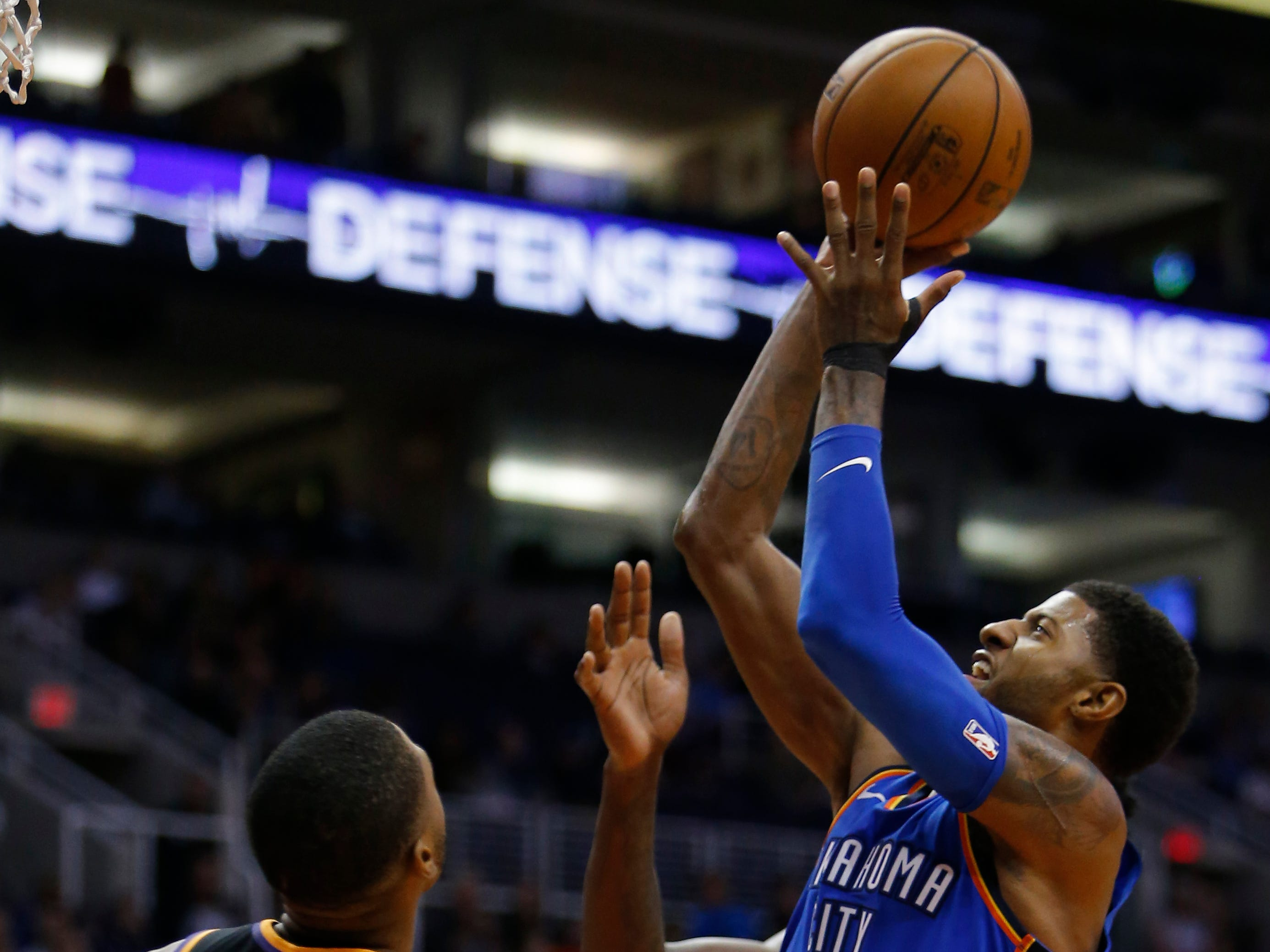 Oklahoma City Thunder forward Paul George (13) in the second half during an NBA basketball game against the Phoenix Suns, Saturday, Nov. 17, 2018, in Phoenix. (AP Photo/Rick Scuteri)