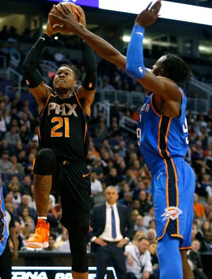 Phoenix Suns forward Richaun Holmes (21) in the first half during an NBA basketball game against the Oklahoma City Thunder, Saturday, Nov. 17, 2018, in Phoenix. (AP Photo/Rick Scuteri)