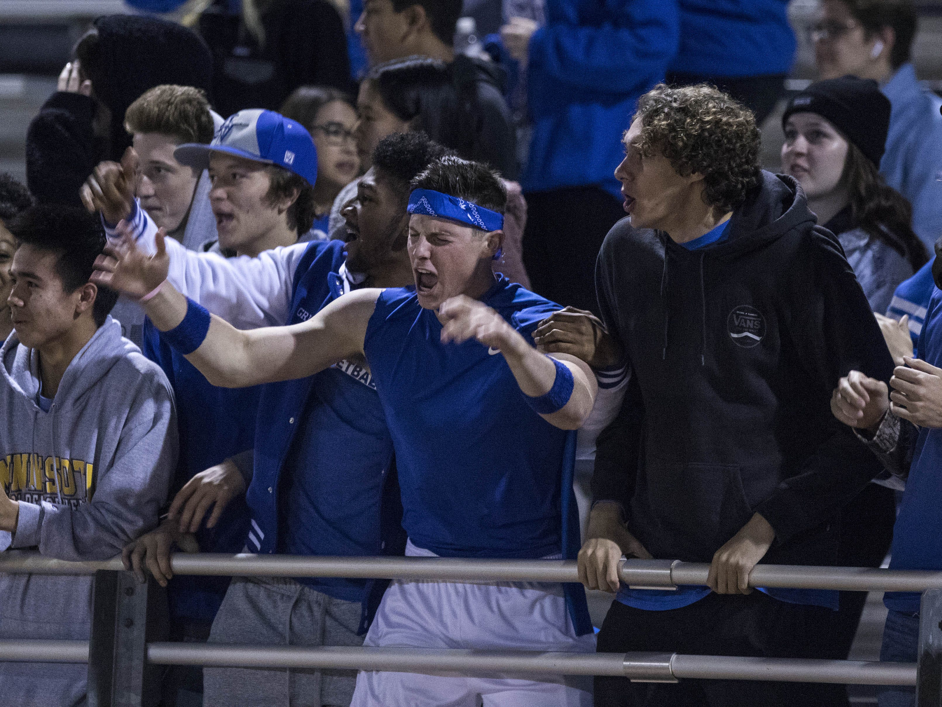 Valley Christian fans have a little fun after they scored against Northwest Christian during their game with Valley Christian at North Canyon High School in Phoenix  Friday, Nov.17, 2018. #azhsfb