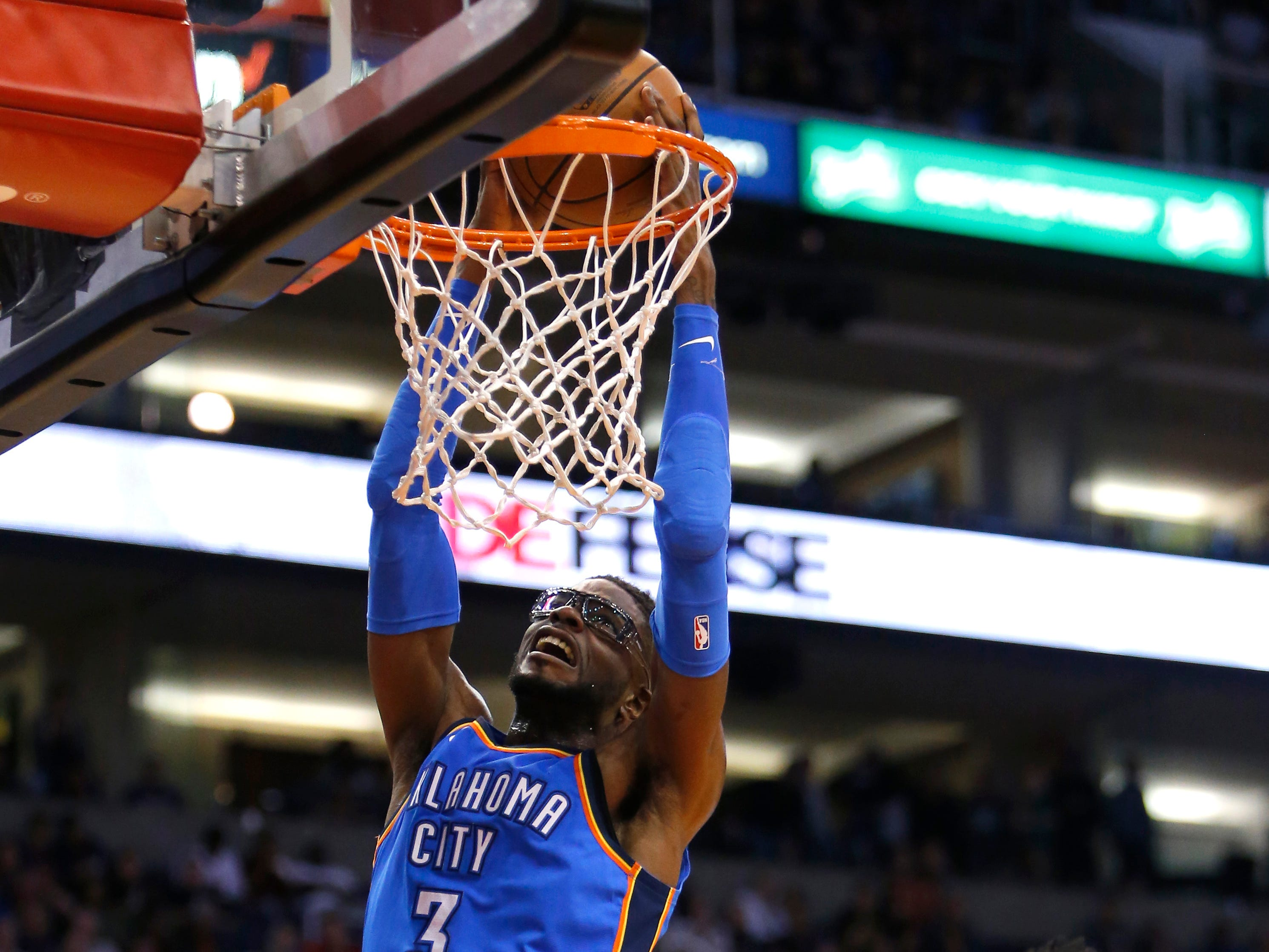 Oklahoma City Thunder forward Nerlens Noel (3) dunks against the Phoenix Suns during the second half of an NBA basketball game Saturday, Nov. 17, 2018, in Phoenix. Oklahoma City won 110-100. (AP Photo/Rick Scuteri)