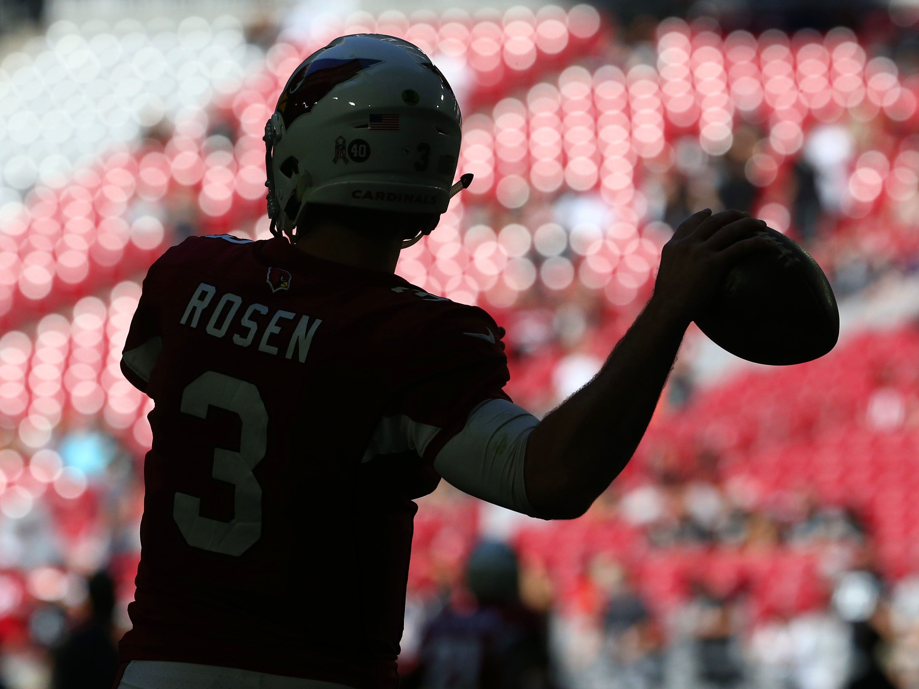Arizona Cardinals quarterback Josh Rosen warms-up before facing the Oakland Raiders during a game Nov. 18 at State Farm Stadium.