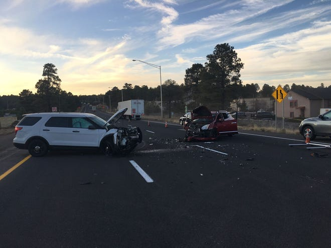 A wrong-way driver collided with an Arizona Department of Public Safety trooper on Interstate 40 near Flagstaff on Nov. 17, 2018.
