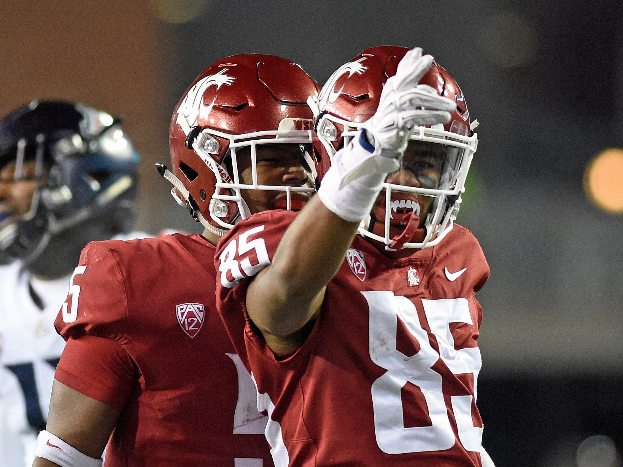 Nov 17, 2018; Pullman, WA, USA; Washington State Cougars wide receiver Calvin Jackson Jr. (85) celebrates a first down during a game against the Arizona Wildcats in the second half at Martin Stadium. Mandatory Credit: James Snook-USA TODAY Sports